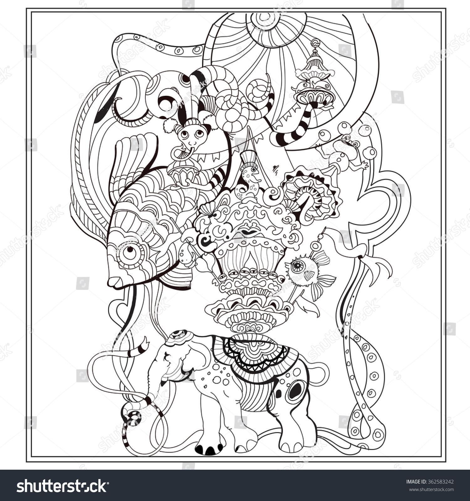 Vector Adult Coloring Book Page With Vintage Circus Ornament In Sketch Styleeps -3540