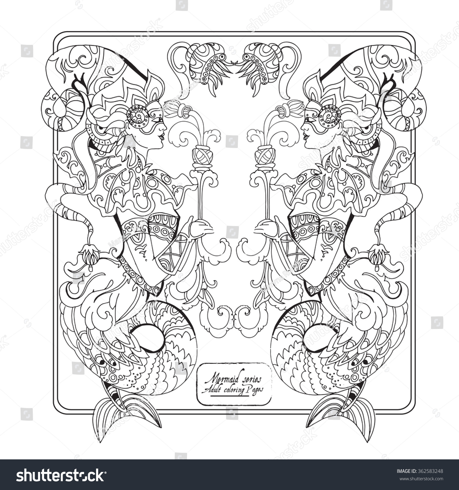 Coloring pages adults mermaids - Vector Adult Coloring Book Page With Vintage Mermaids Ladies Ornament Eps