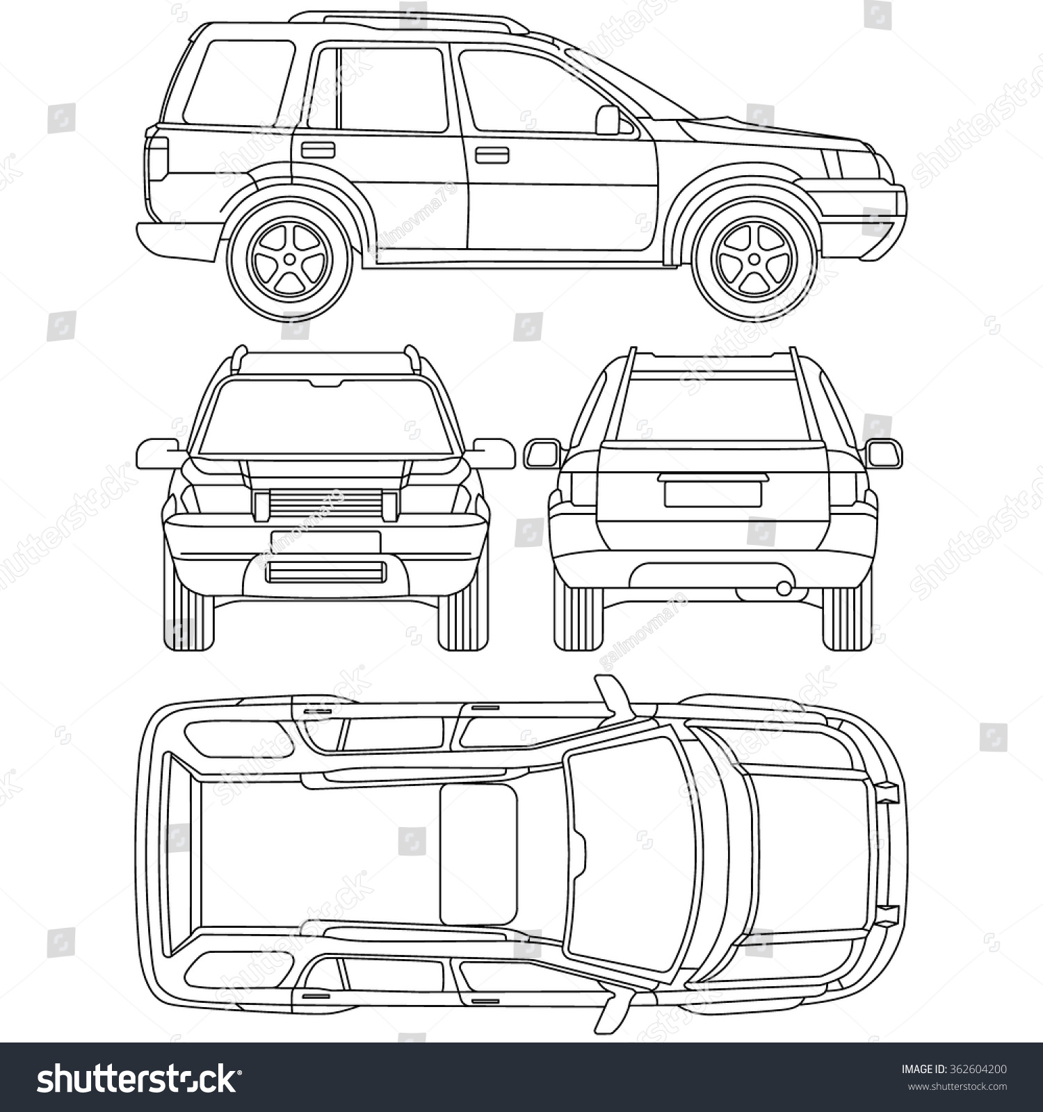 Car Offroad Line Draw Insurance Rent Stock Vector 362604200 ...