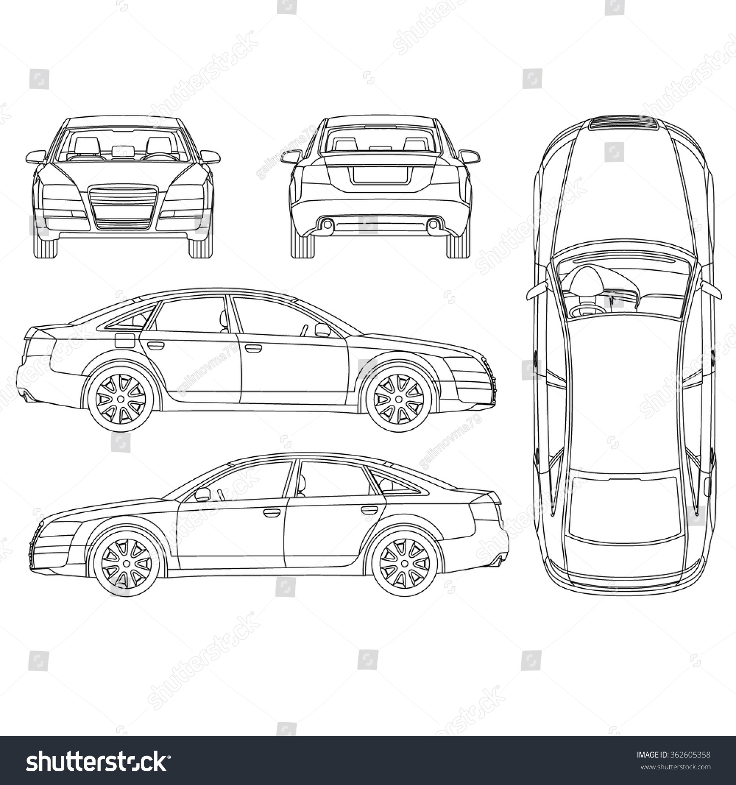 royalty free car line art all view four view top. Black Bedroom Furniture Sets. Home Design Ideas