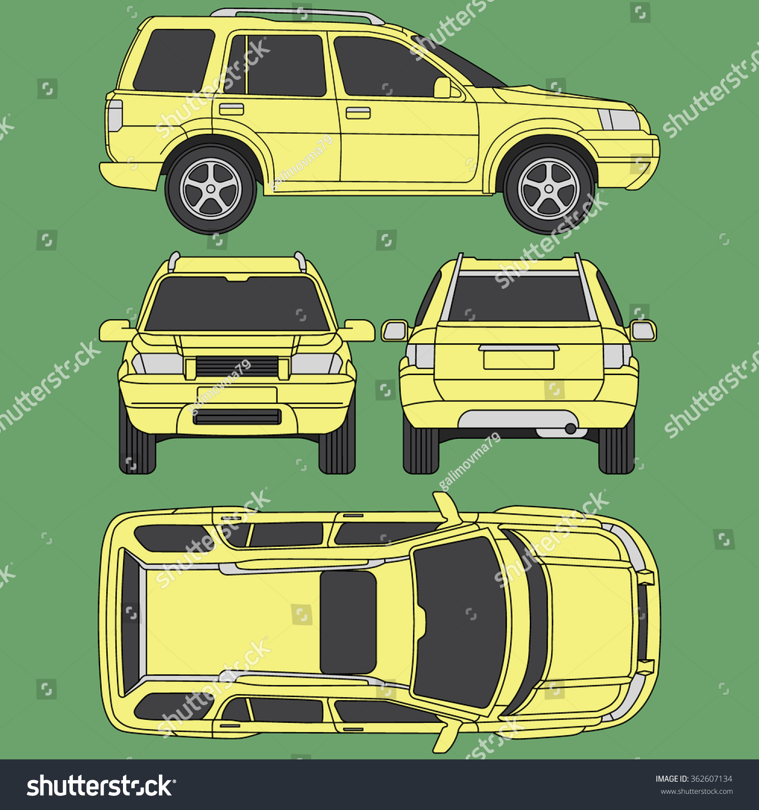 Car Off Road Line Draw Insurance Stock Vector 362607134 - Shutterstock