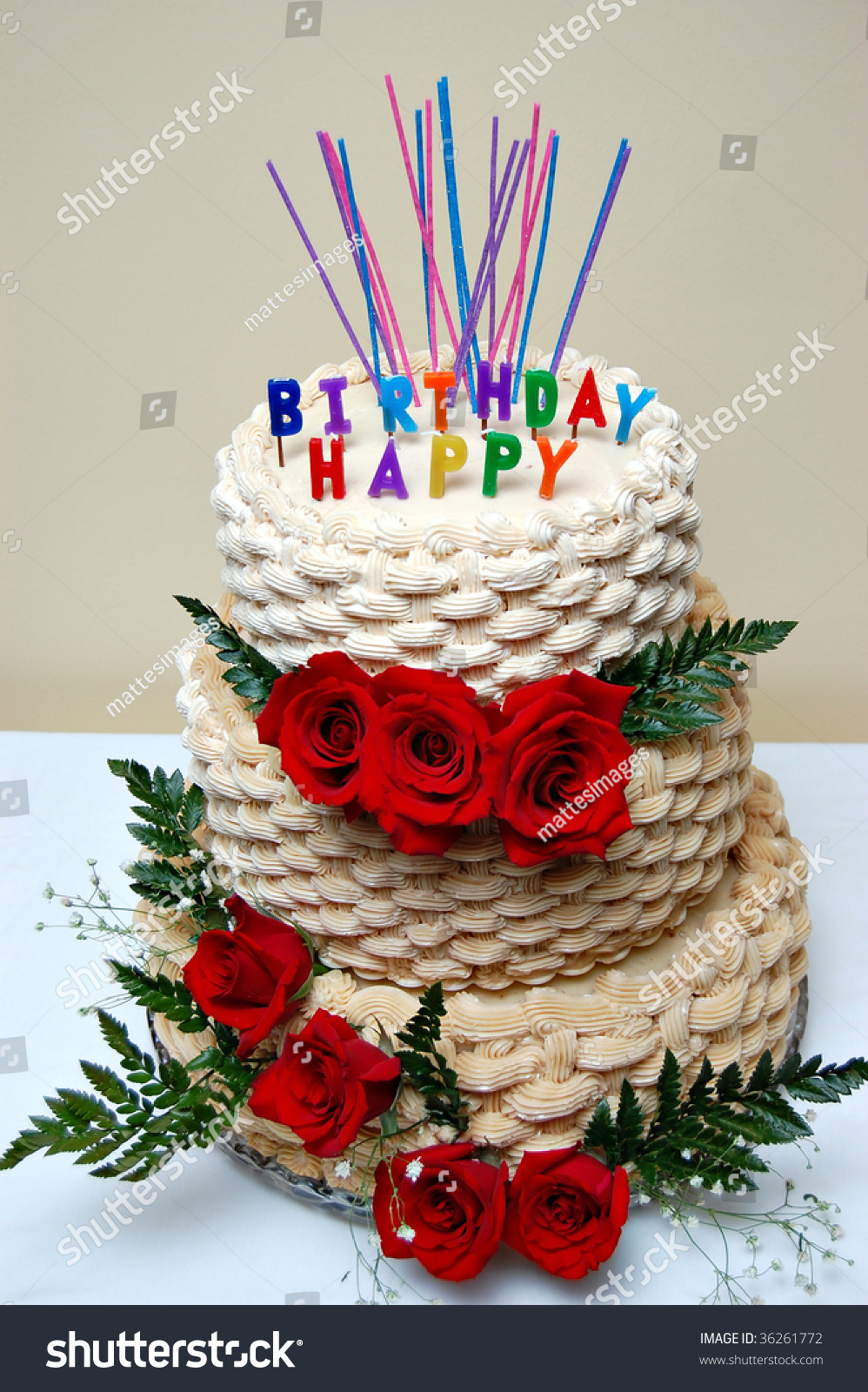 Birthday Cake Decorated Roses Stock Photo Royalty Free 36261772