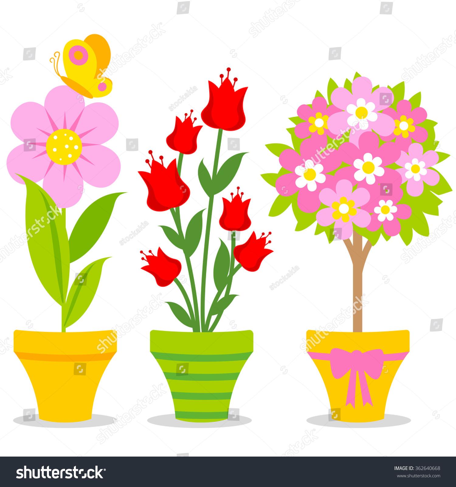 Cute Flowers Pots Stock Illustration Shutterstock