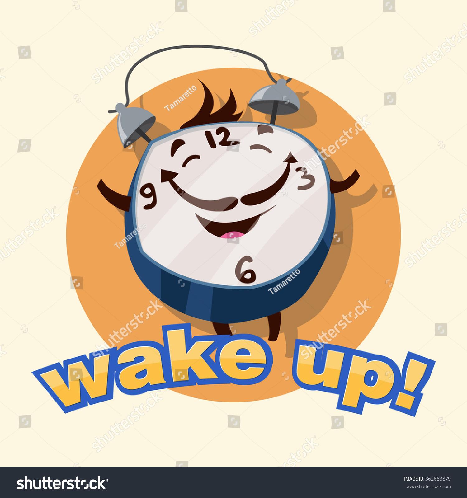 Wake Up. Funny Cartoon Alarm Clock. Stock Vector ...