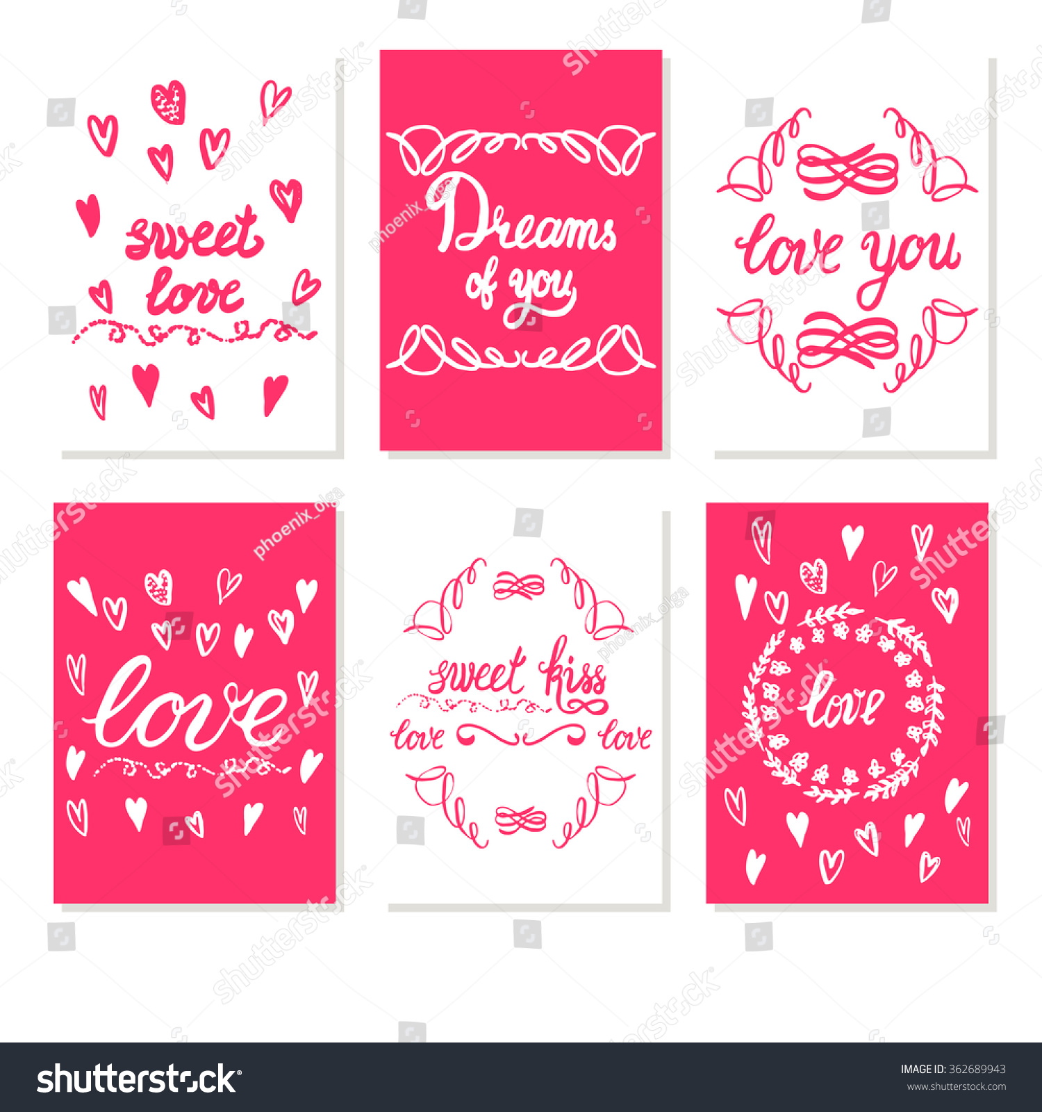 Set Greeting Card Valentines Day White Stock Vector Royalty Free