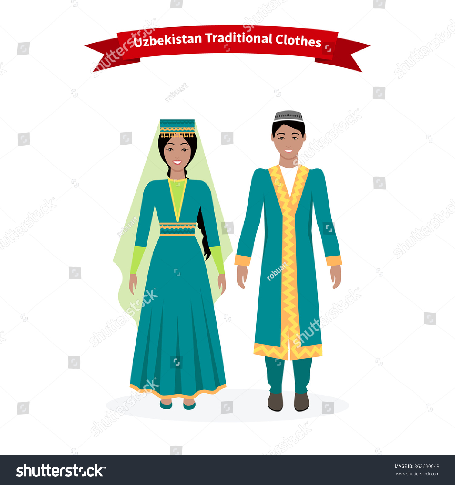 Uzbekistan Traditional Clothes People Clothing Hat Stock ...