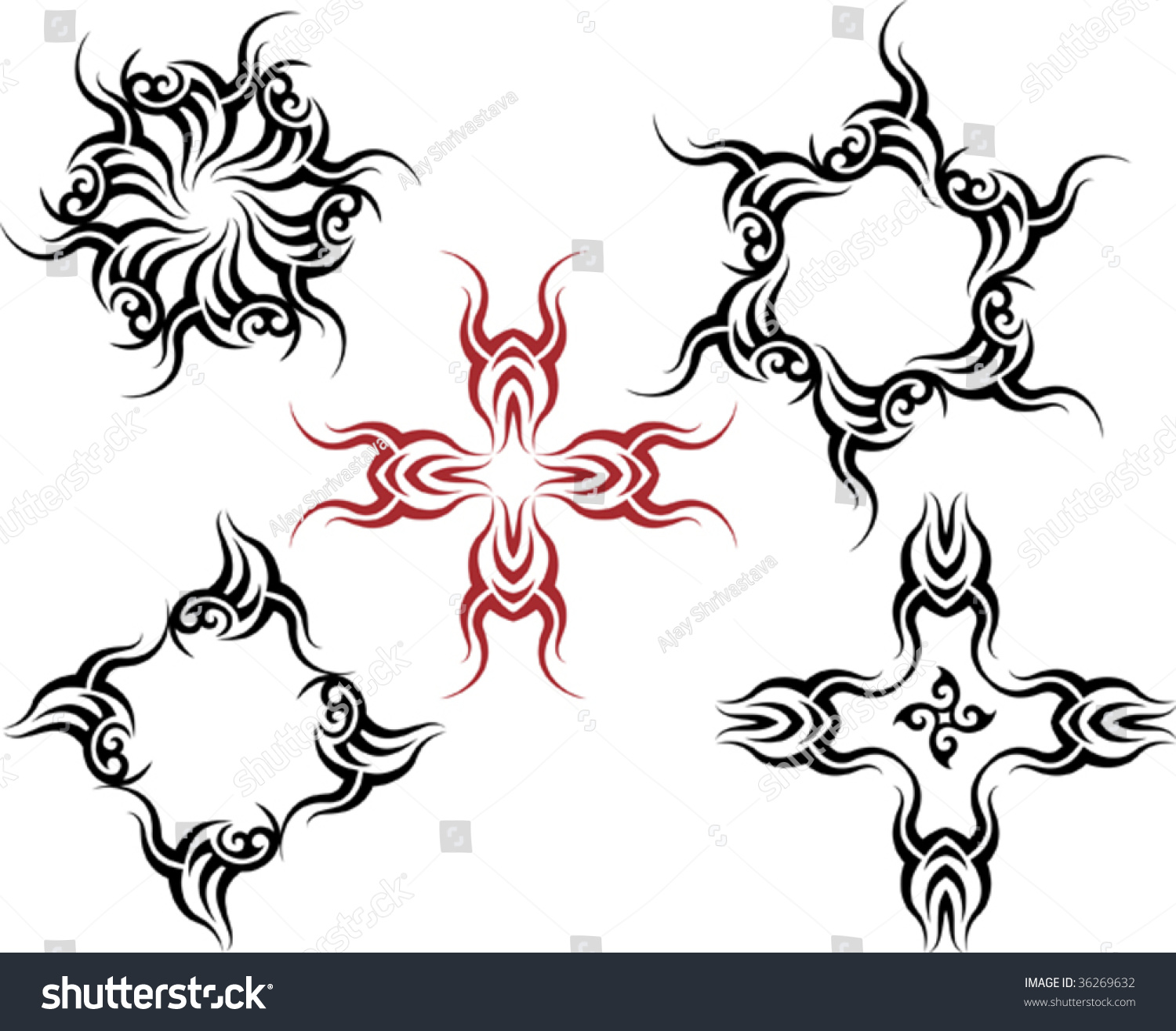 Vector Tribal Tattoo Set Cross, Sun, Flame Designs - 36269632 ...