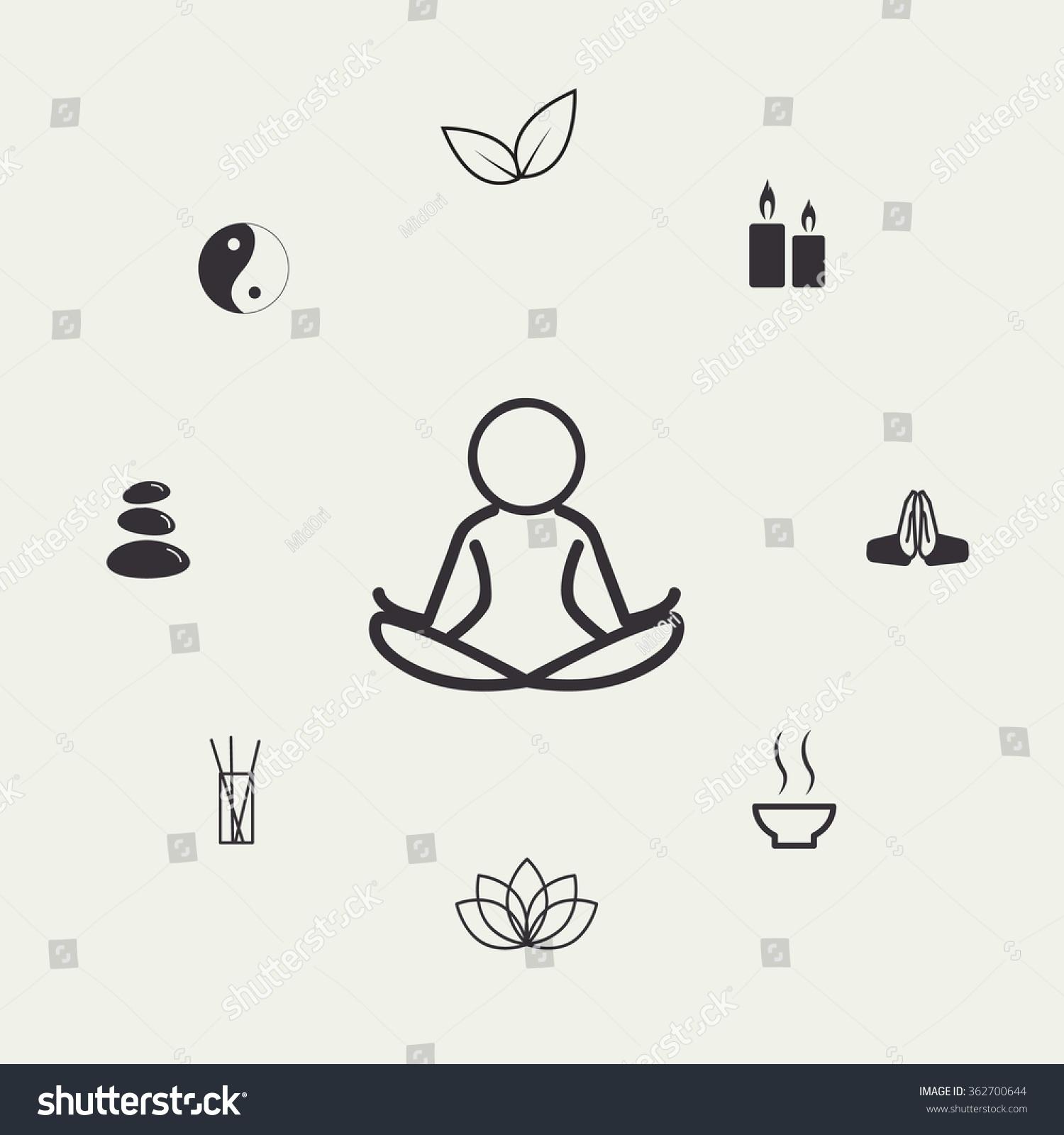Zen Line Art : Line art zen meditation set stock vector illustration