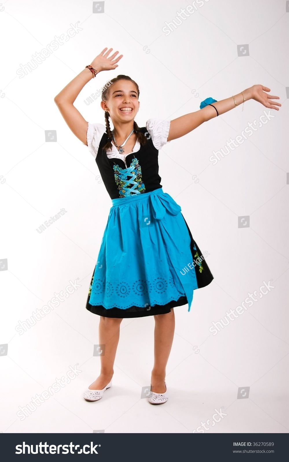 30e46075df65 Dancing Bavarian Girl Dirndl Stock Photo (Edit Now) 36270589 ...