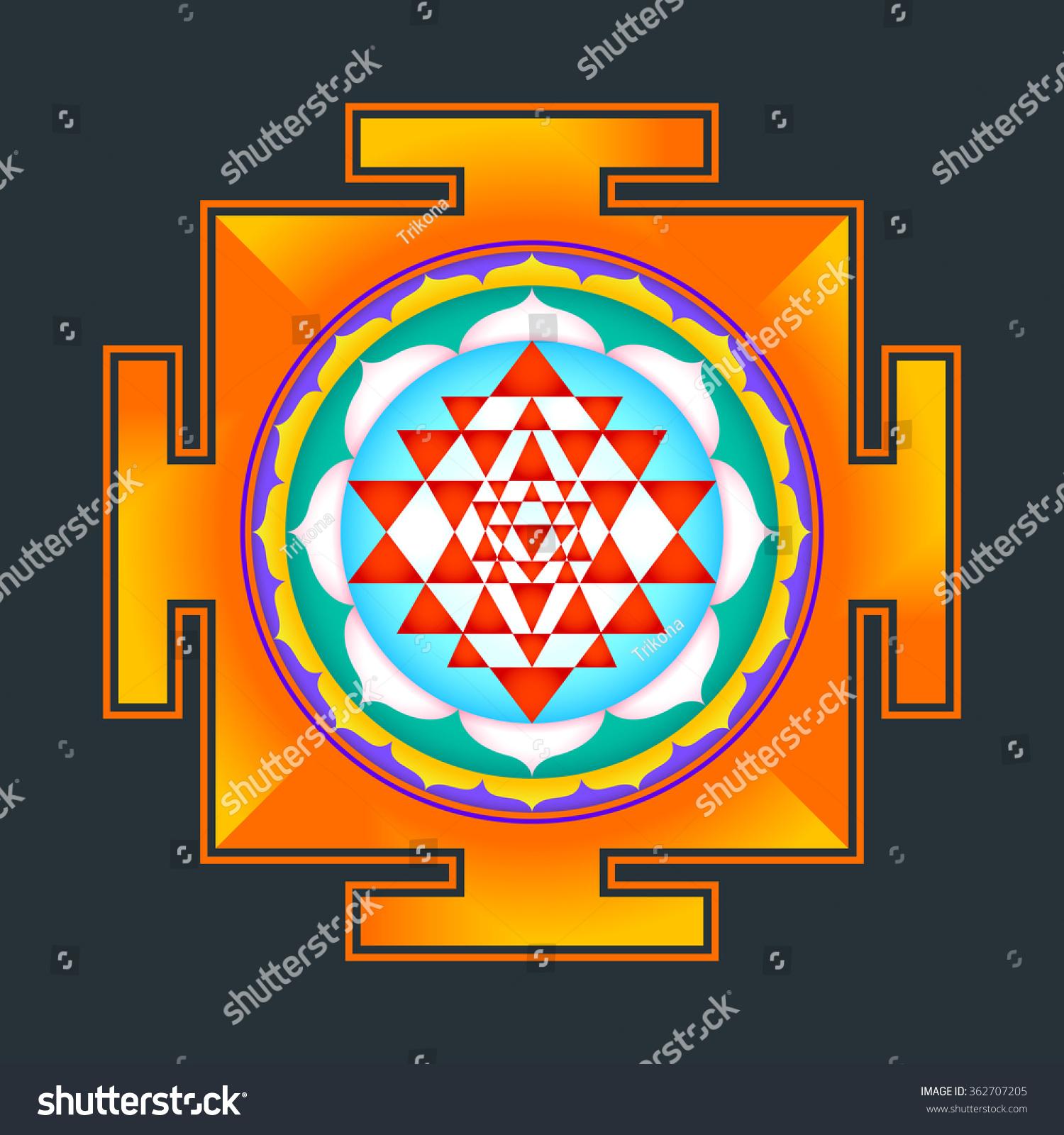 stock photo colored hinduism sri yantra sri chakra illustration triangles diagram isolated on black background 362707205 royalty free stock illustration of colored hinduism sri yantra sri
