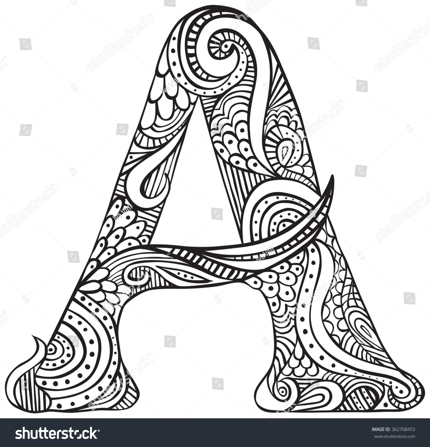 Hand Drawn Capital Letter Black Coloring Stock Vector