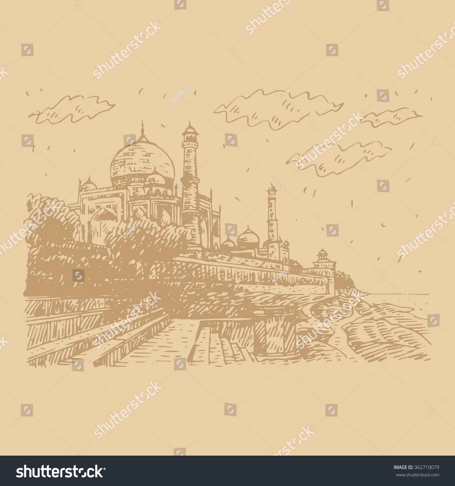 Taj Mahal Yamuna River Agra India Stock Vector (Royalty Free ...