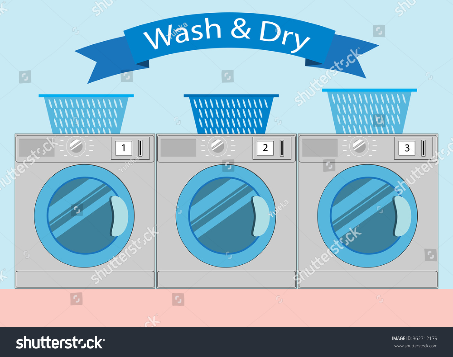Line Of Industrial Laundry Machines In Flat Style Rows Washing Laundromat Machine