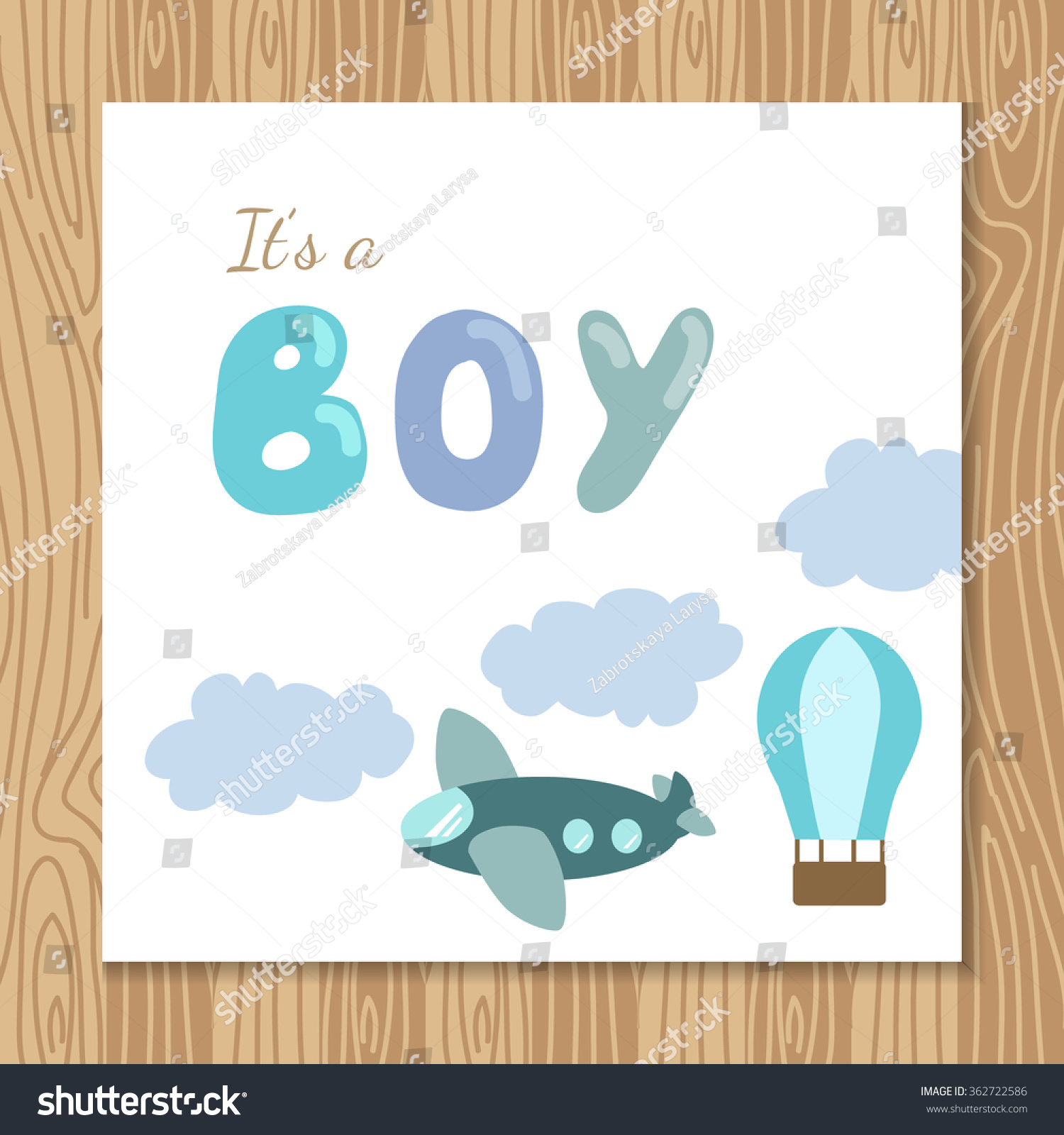 Baby Boy Shower Card Template Holiday Stock Vector