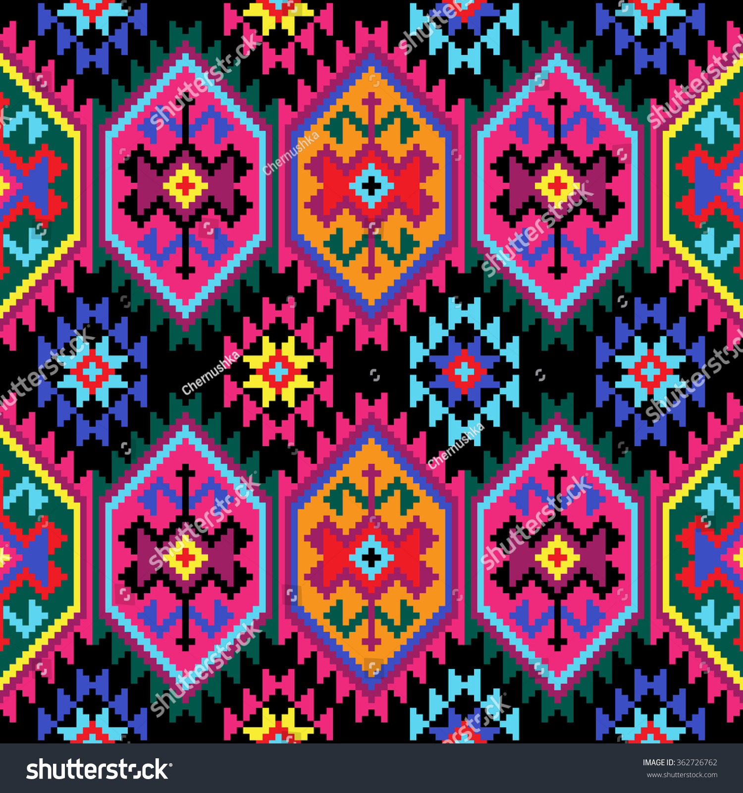 Tribal seamless colorful geometric pattern