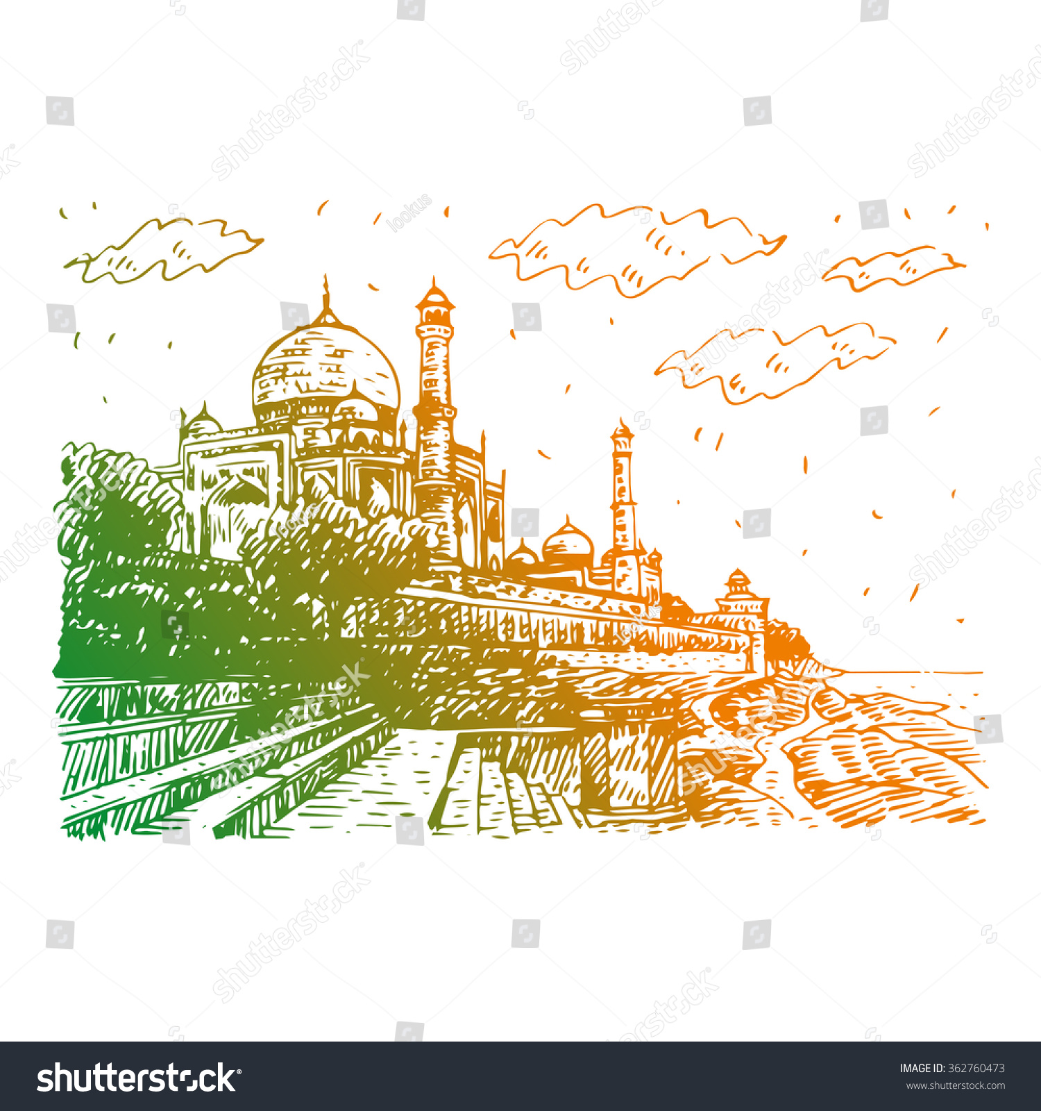 Side view of the taj mahal and yamuna river agra india vector freehand pencil sketch vector
