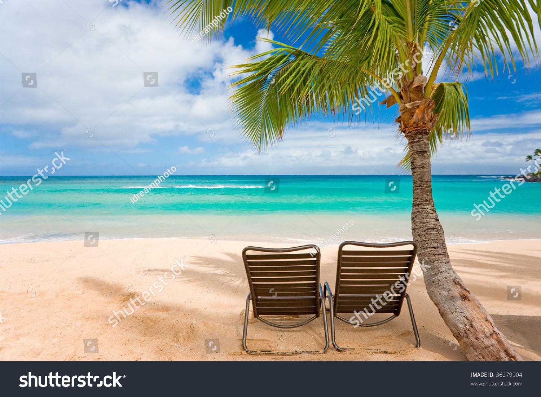 Tropical Beach Chairs Romantic Tropic...