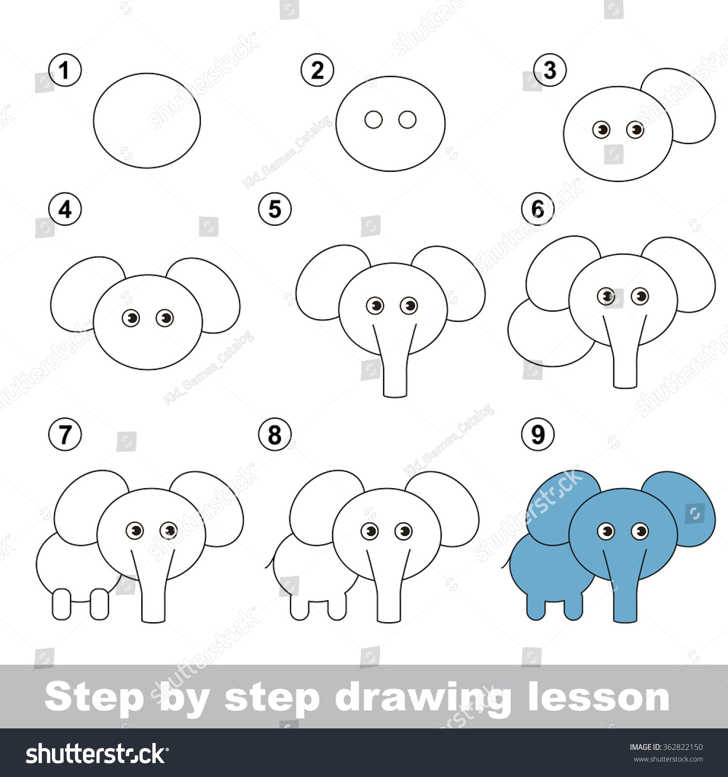 Elephant cartoon drawing steps for Step by step drawing websites