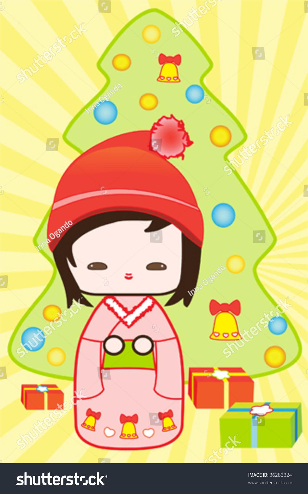 Japanese Kokeshi Doll Christmas Scene Christmas Stock Vector ...