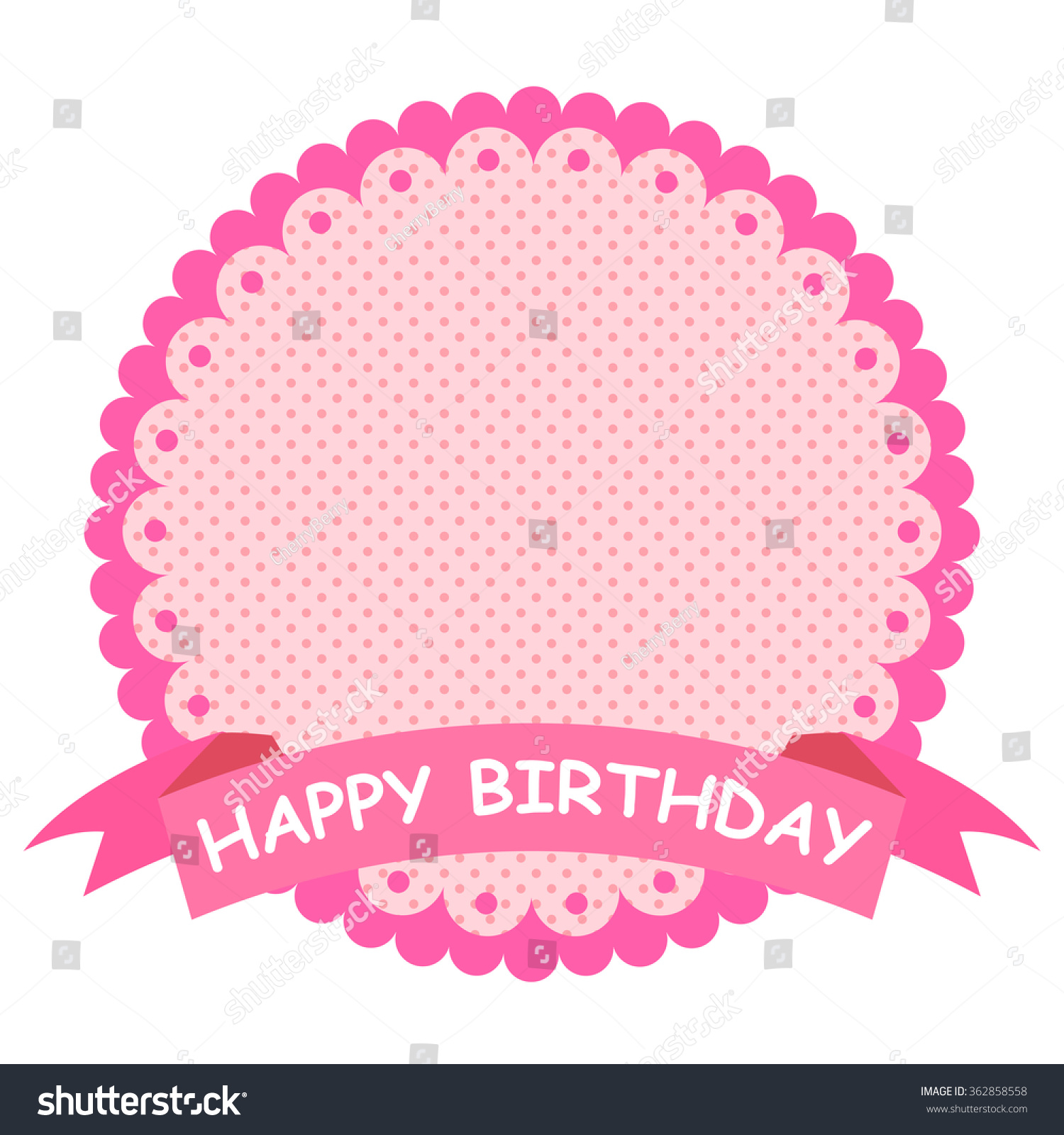 Pink Happy Birthday Banner Stock Vector Illustration