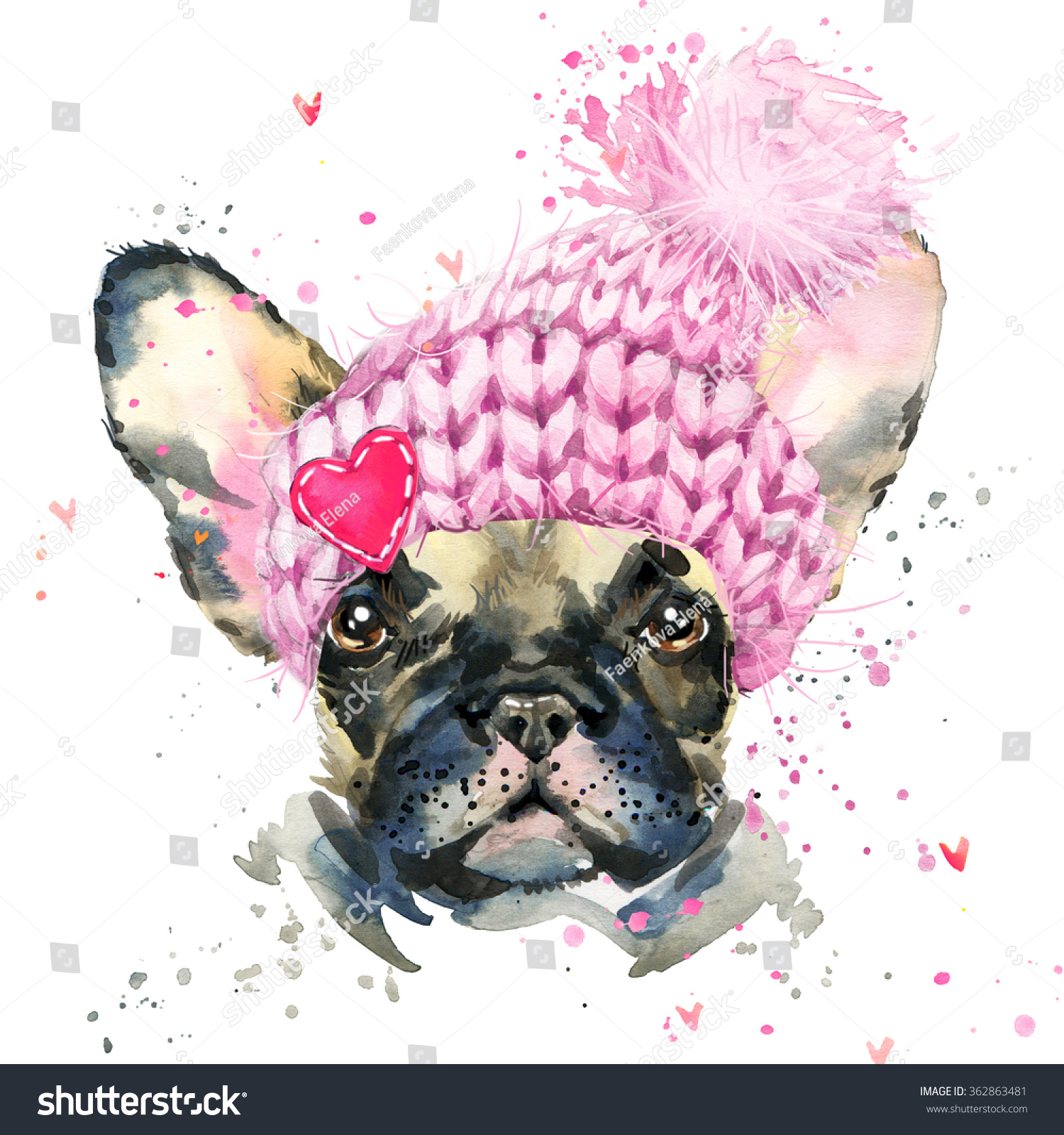 French Bulldog Cute dog Watercolor puppy dog illustration French Bulldog breed