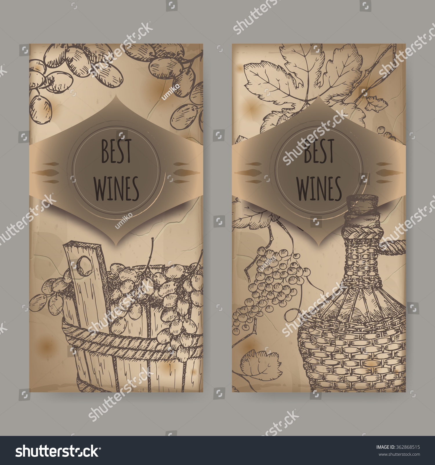 Set 2 Vintage Wine Label Templates Stock Vector (2018) 362868515 ...