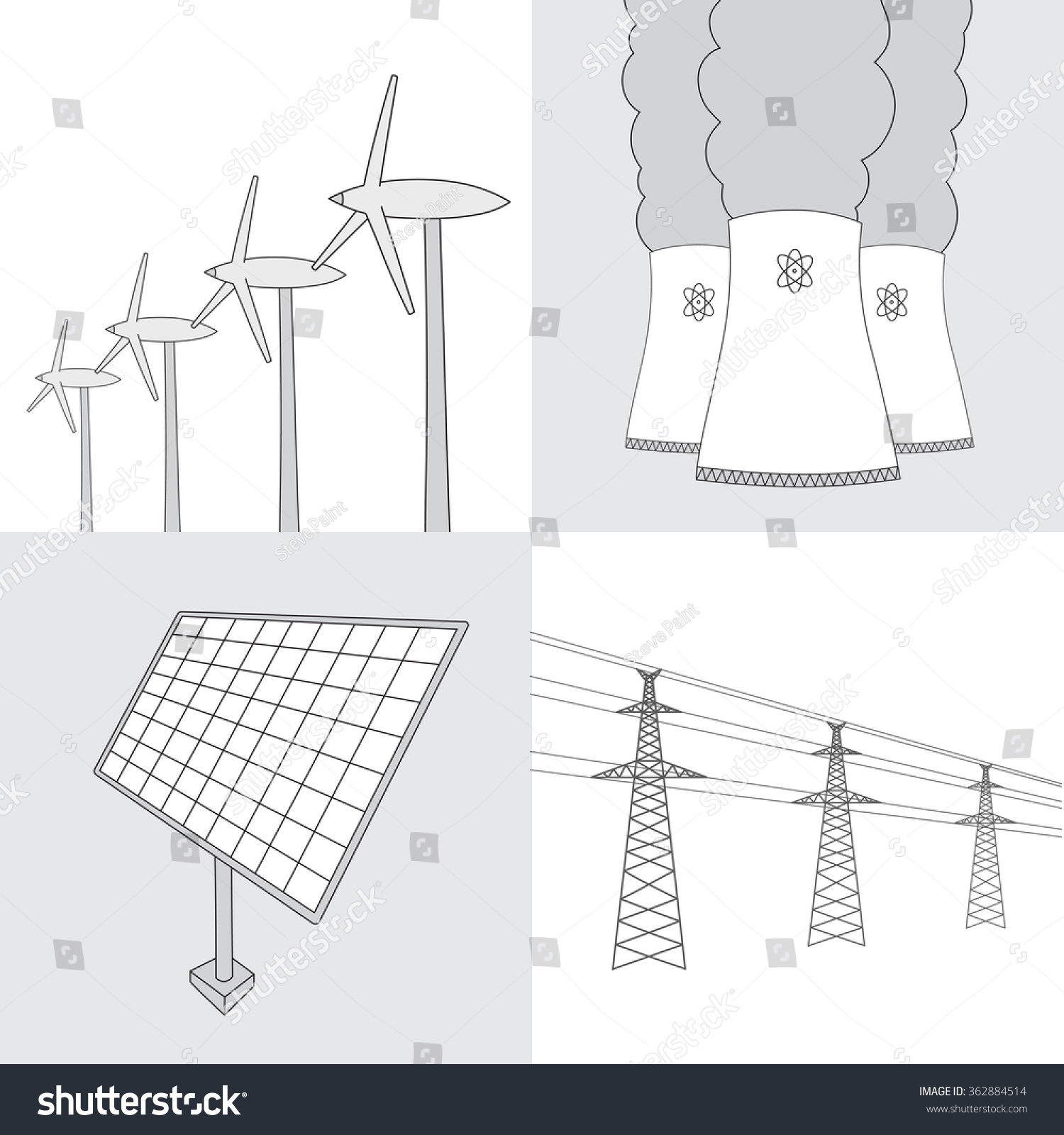 Vector Hand Drawn Various Sources Energy Stock Royalty Free Nuclear Power Plant Line Diagram Of Collection Wind Turbines