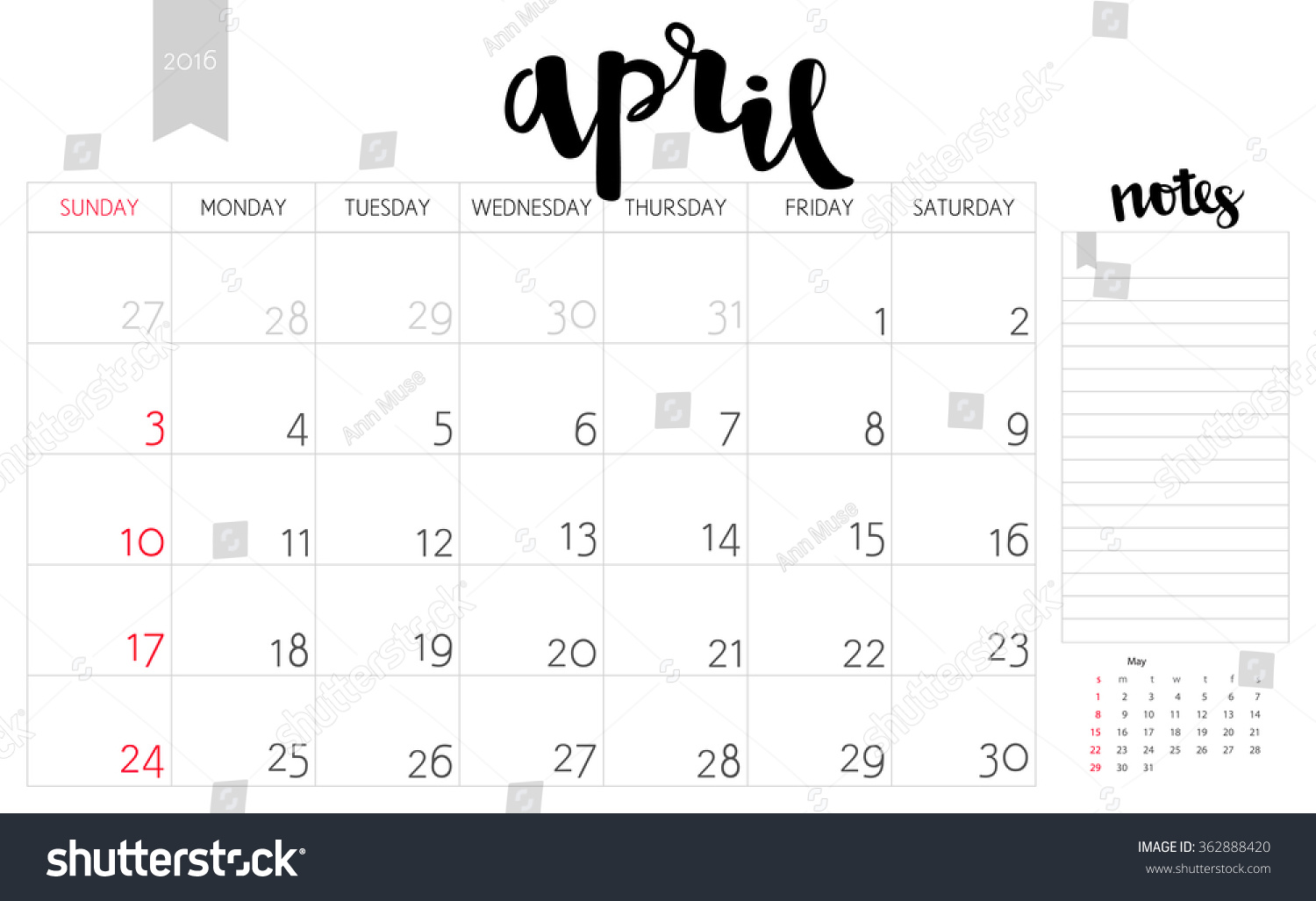 Vector Simple Planning Calendar April 2016 With A Place