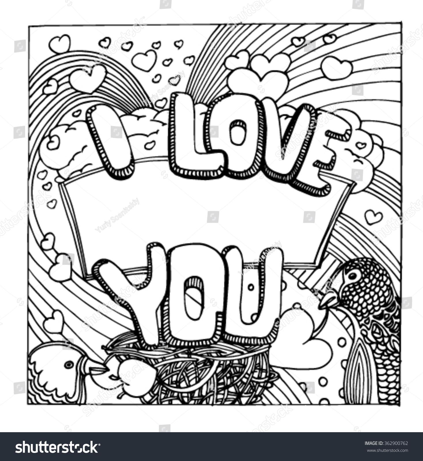 Sketch Patterns Love Valentines Day Love Stock Vector