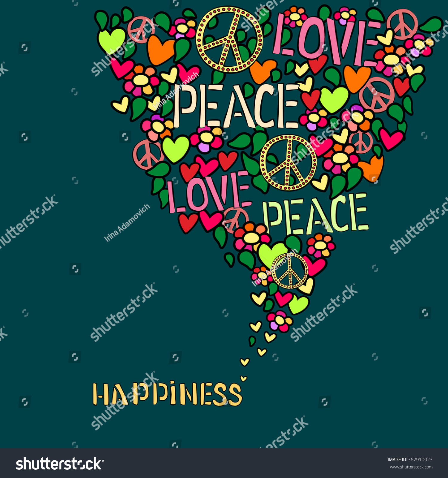 Text happiness love peace pacifism symbol stock vector 362910023 text happiness love peace and pacifism symbol in colorfull collage buycottarizona