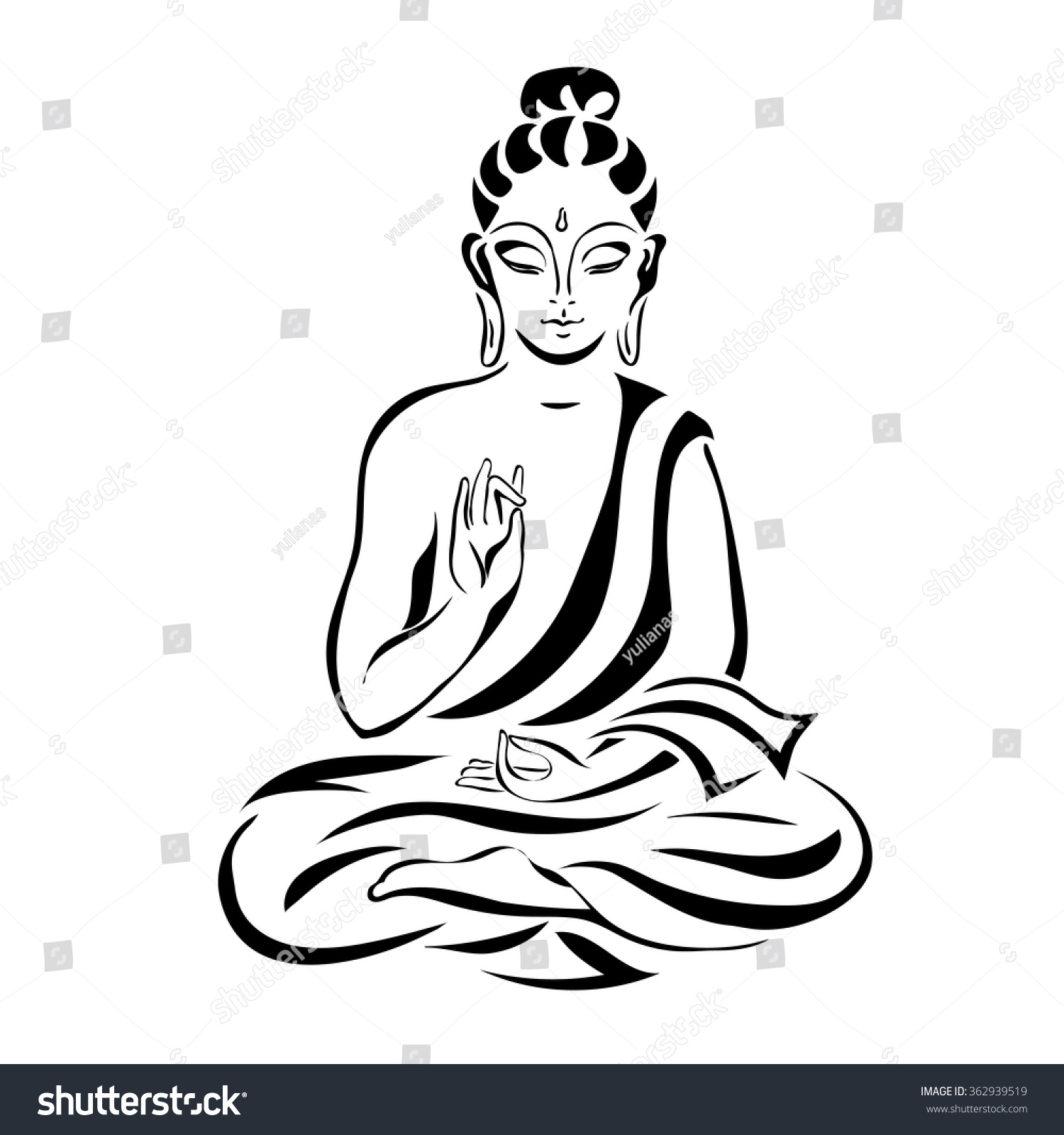 Simple Buddha Line Art buddha in the lotus position. black outlines ...