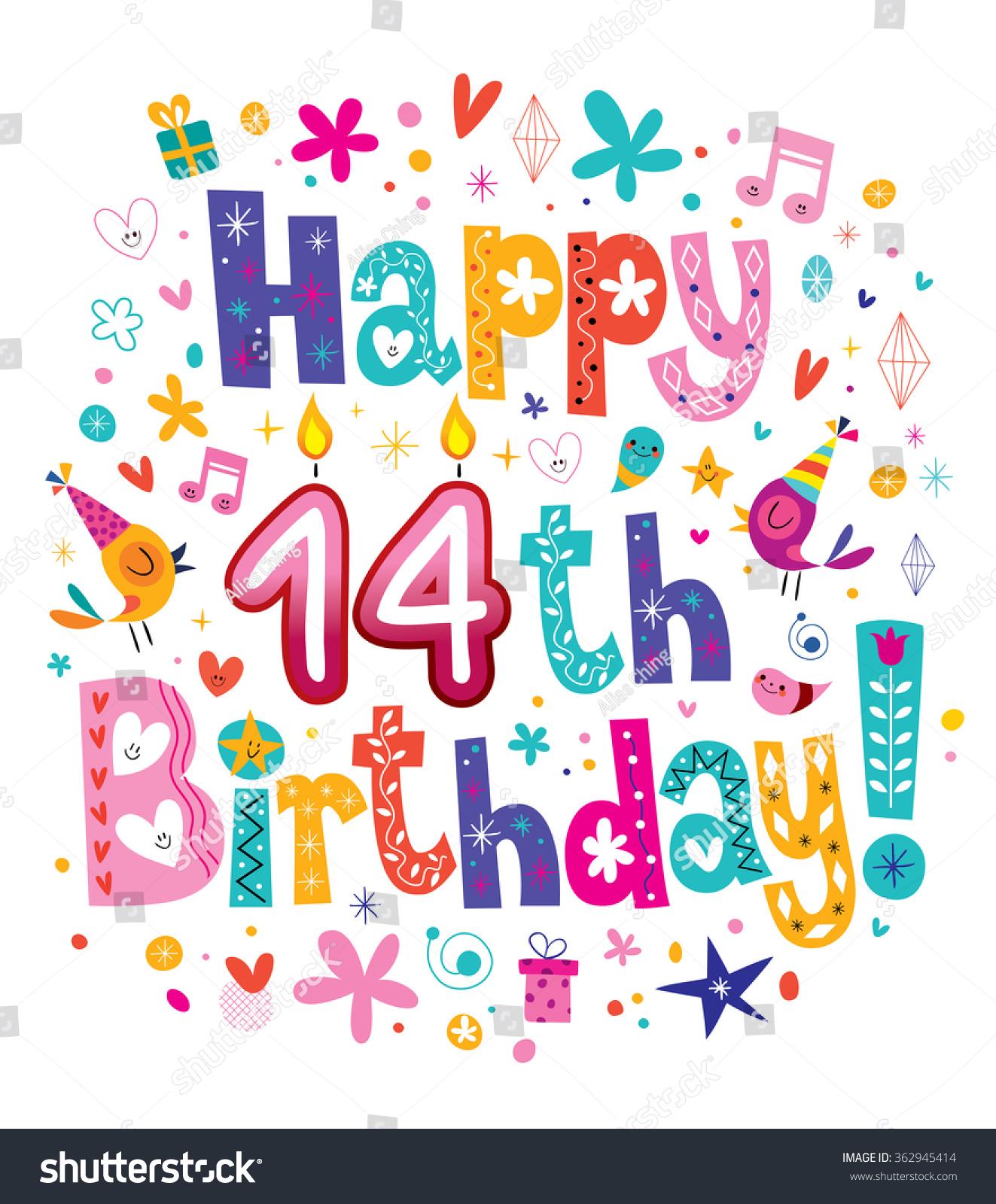 Happy 14th Birthday Kids Greeting Card Stock Vector