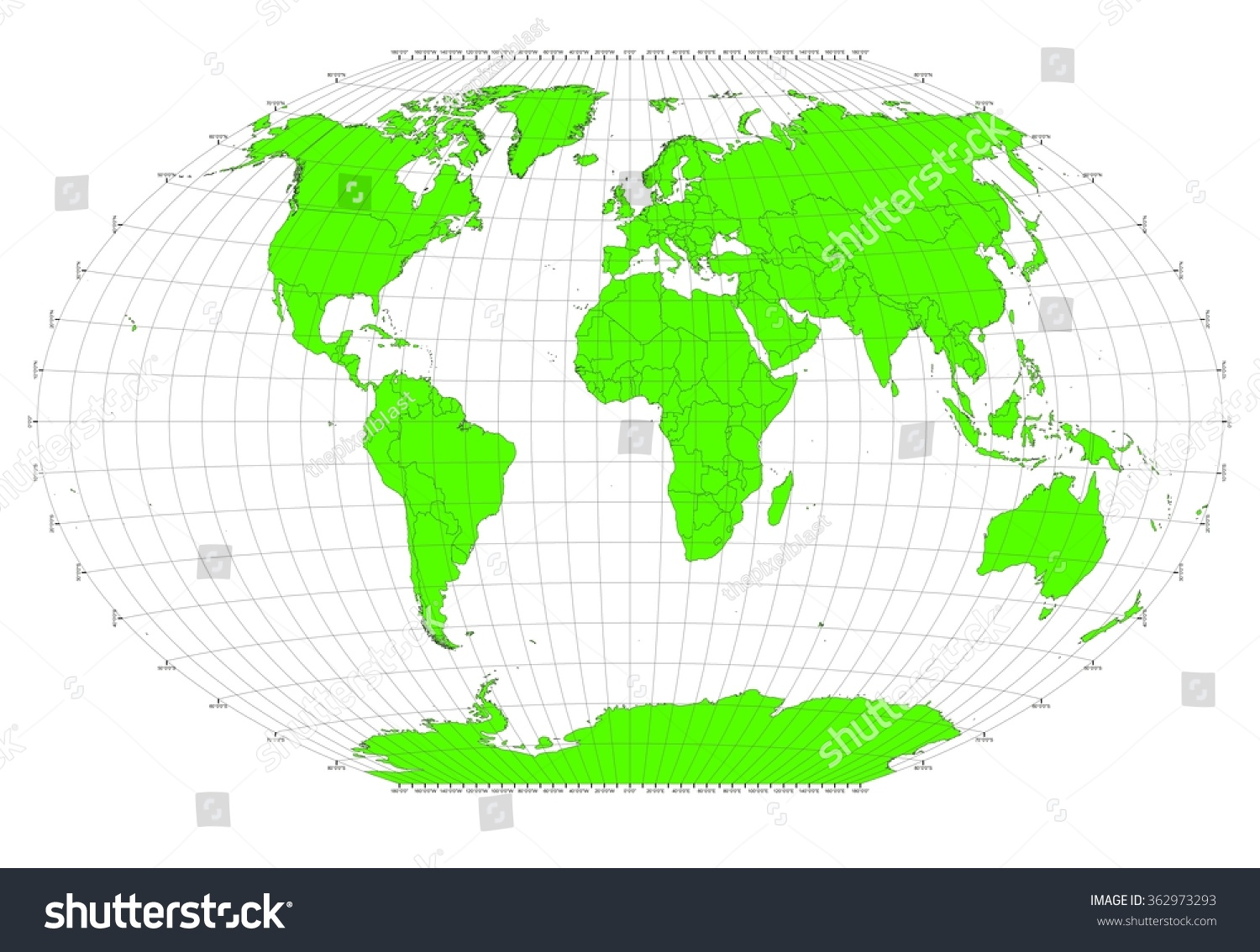 World Sphere No Labels Gray Grid Stock Illustration - Map of the world with no labels