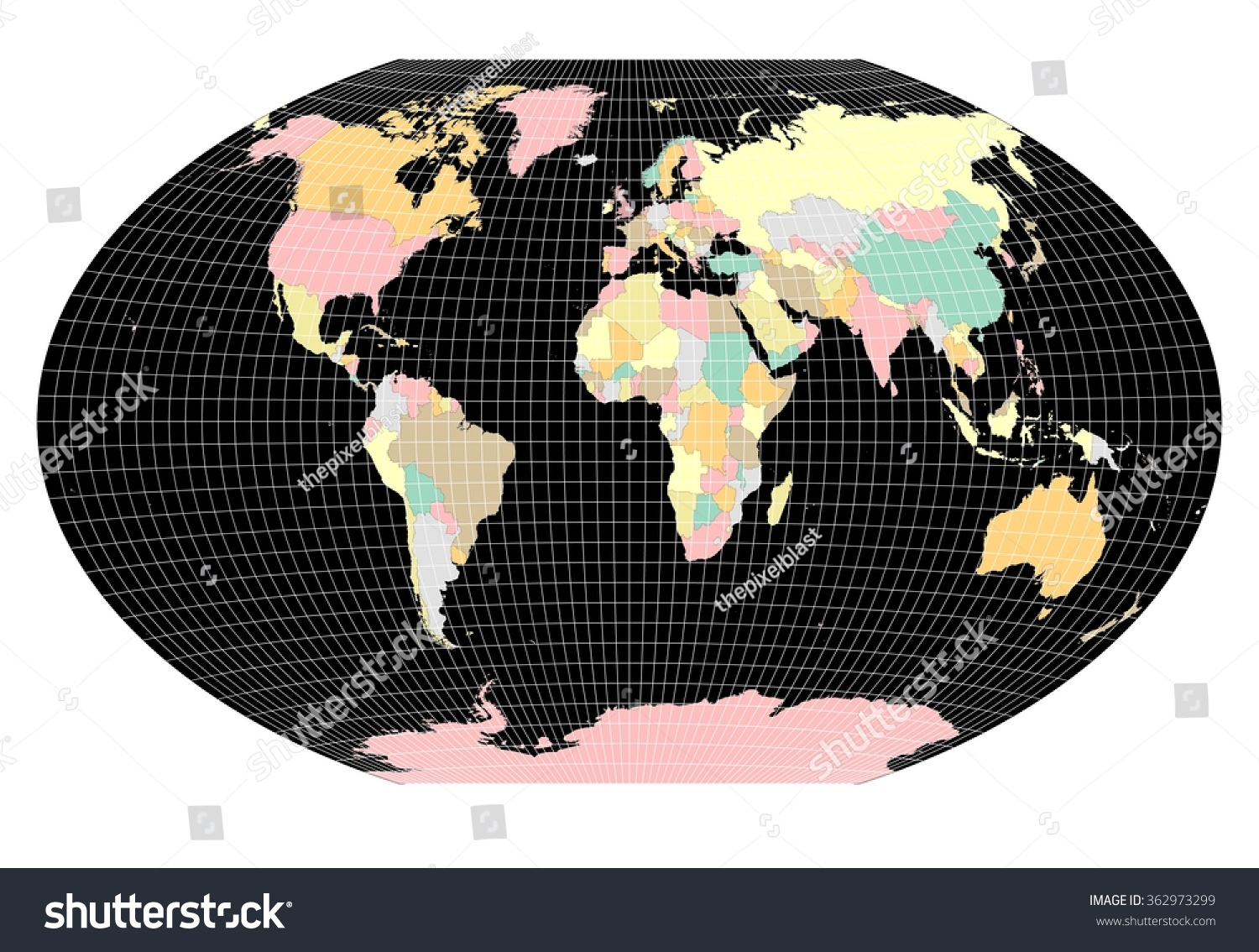 World sphere no country labels white stock illustration 362973299 world sphere no country labels white grid lines black oceans gumiabroncs Choice Image