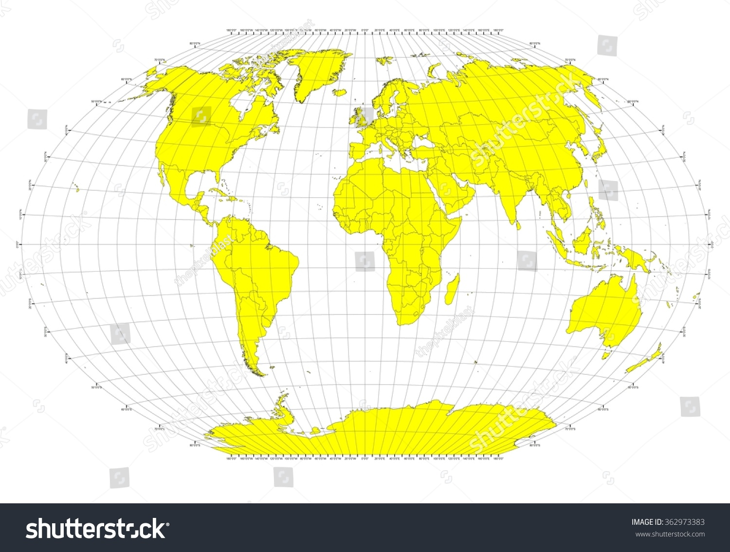 World Sphere No Labels Gray Grid Stock Illustration Royalty Free