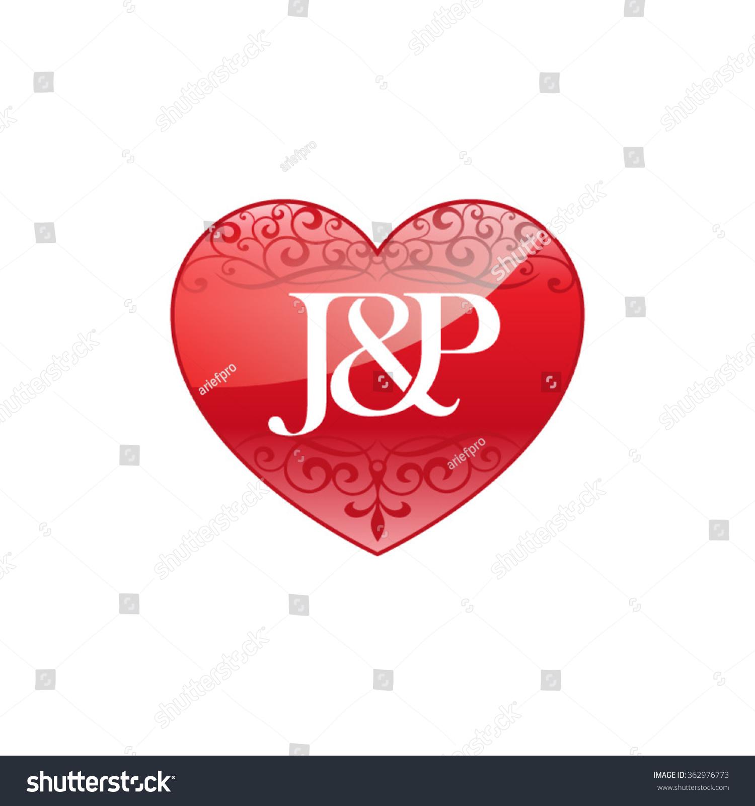 Jp Initial Letter Couple Logo Ornament Stock Vector
