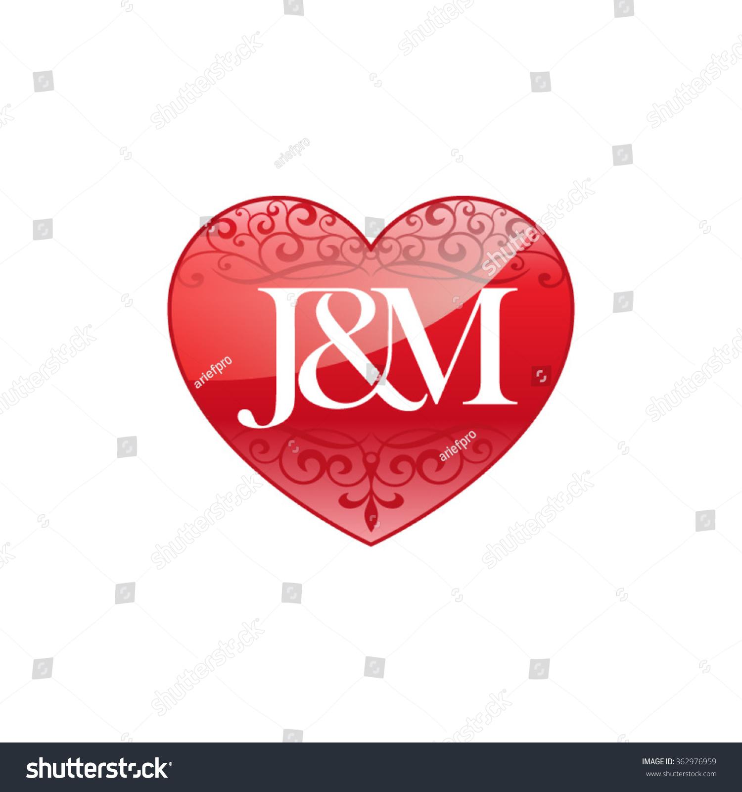 jm initial letter couple logo ornament stock vector
