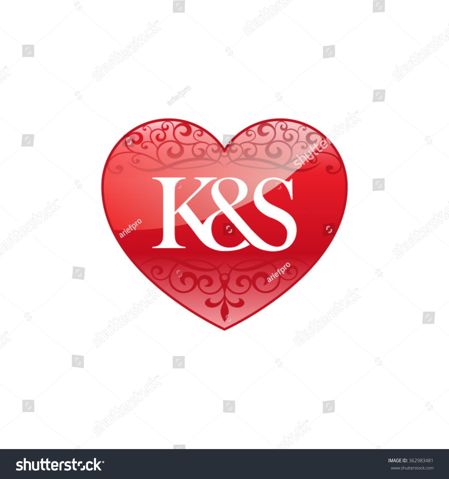 Ks Initial Letter Couple Logo Ornament Stock Vector 362983481 ...