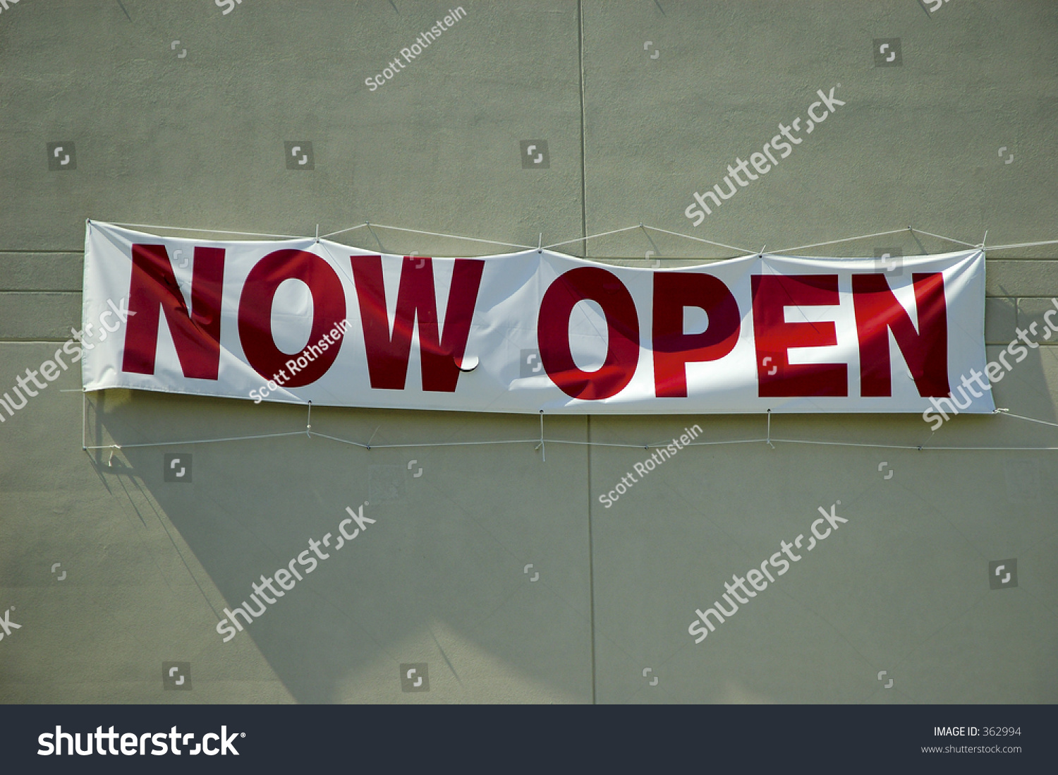 now open banner hanging on wall stock photo 362994  shutterstock