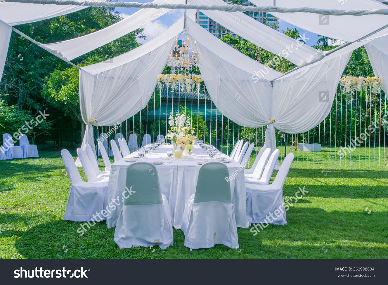Wedding Decorations White Cloth Garden Stock Photo 362998604 ...