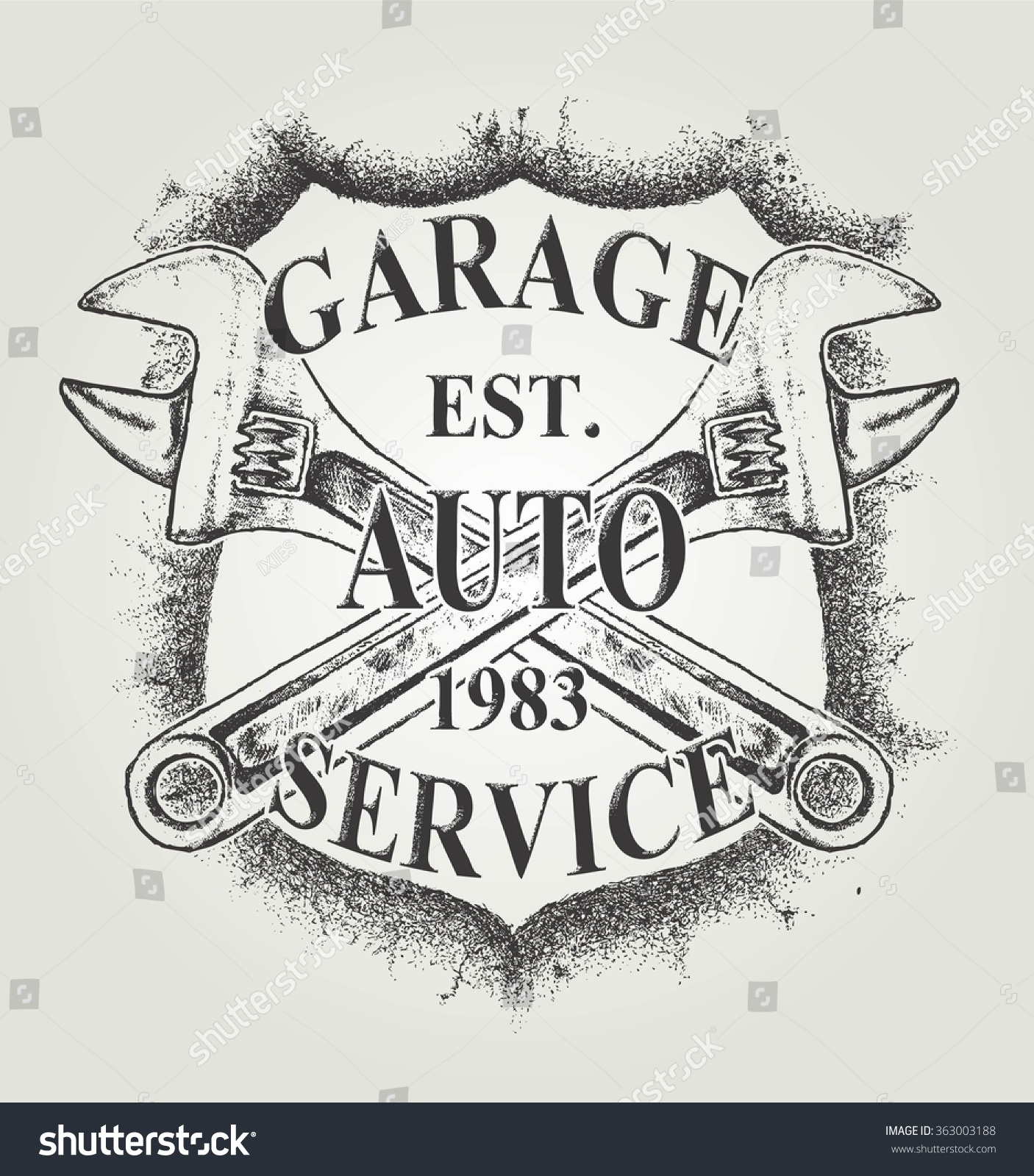 auto service grunge vintage garage logo stock vector