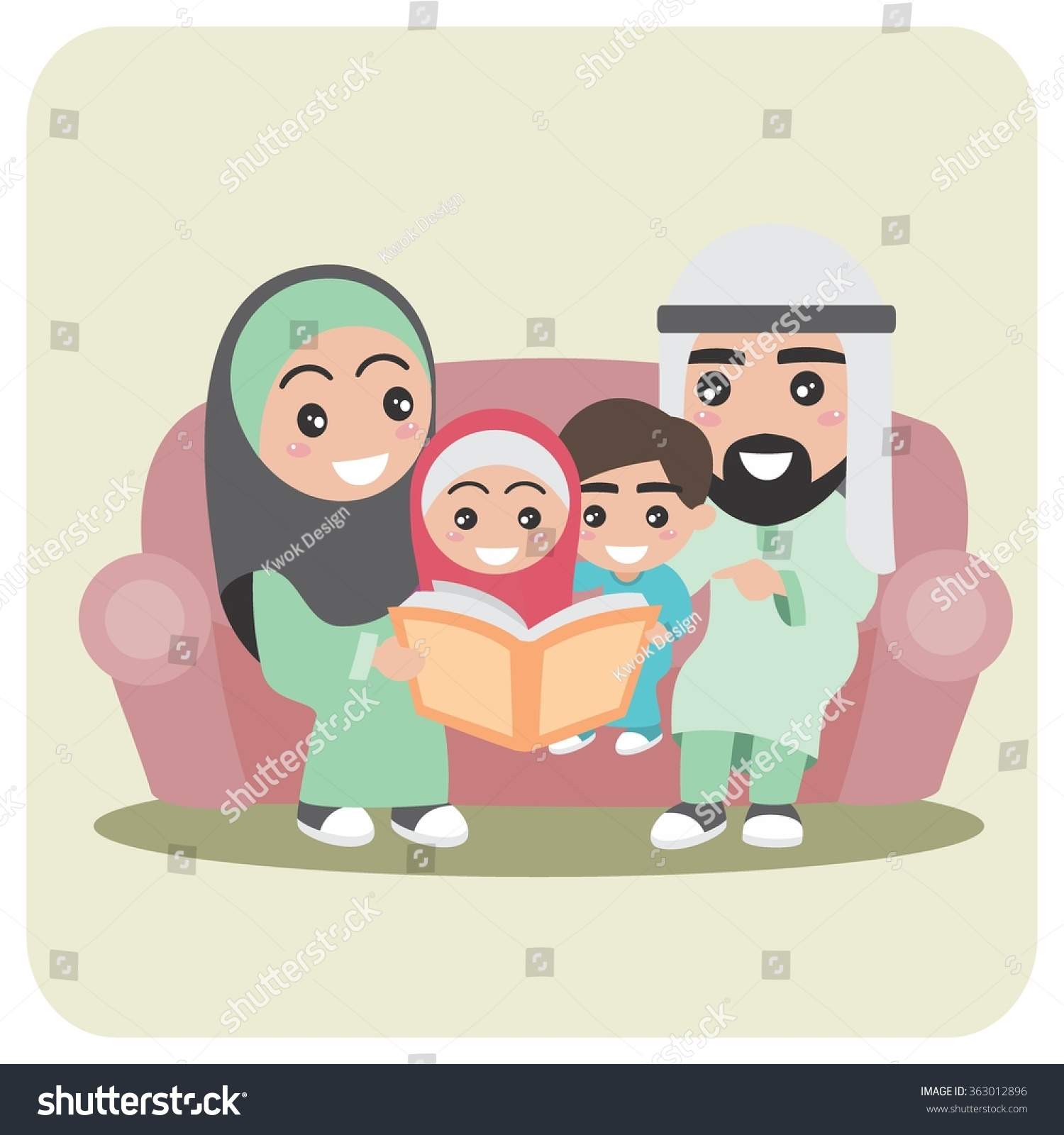 Muslim Family In The Living Room Illustration