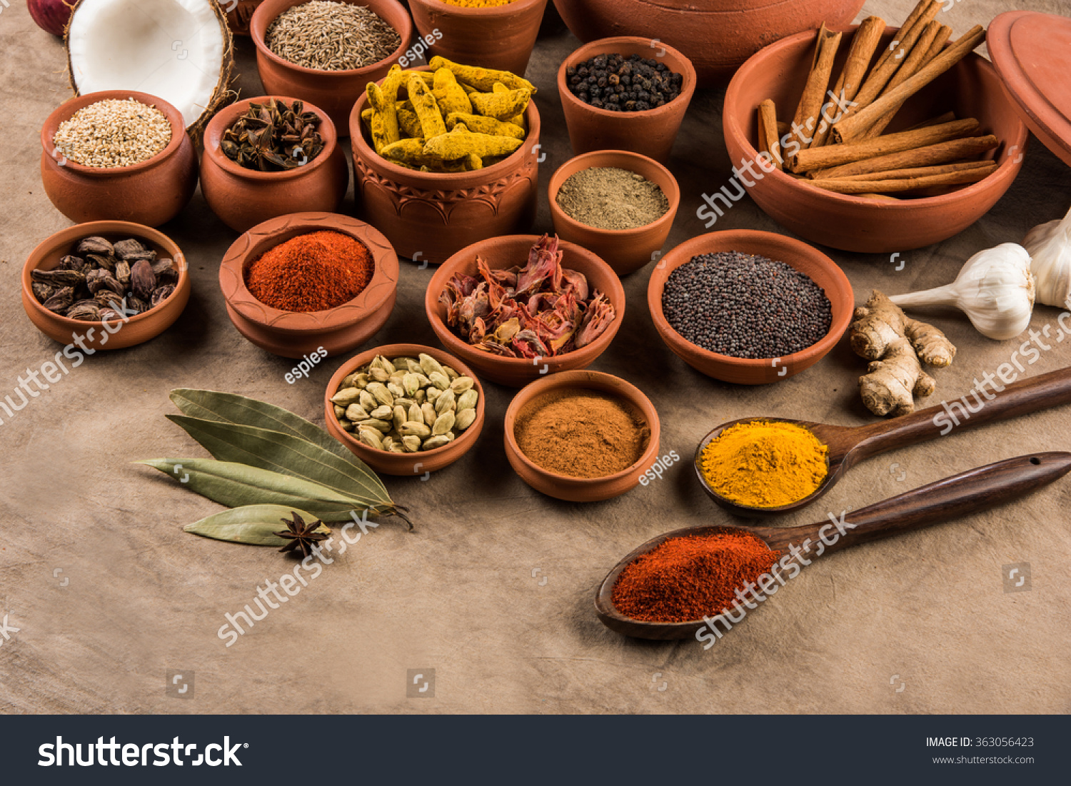 Royalty free indian spices in terracotta pots 363056423 for Aroma indian cuisine coupon