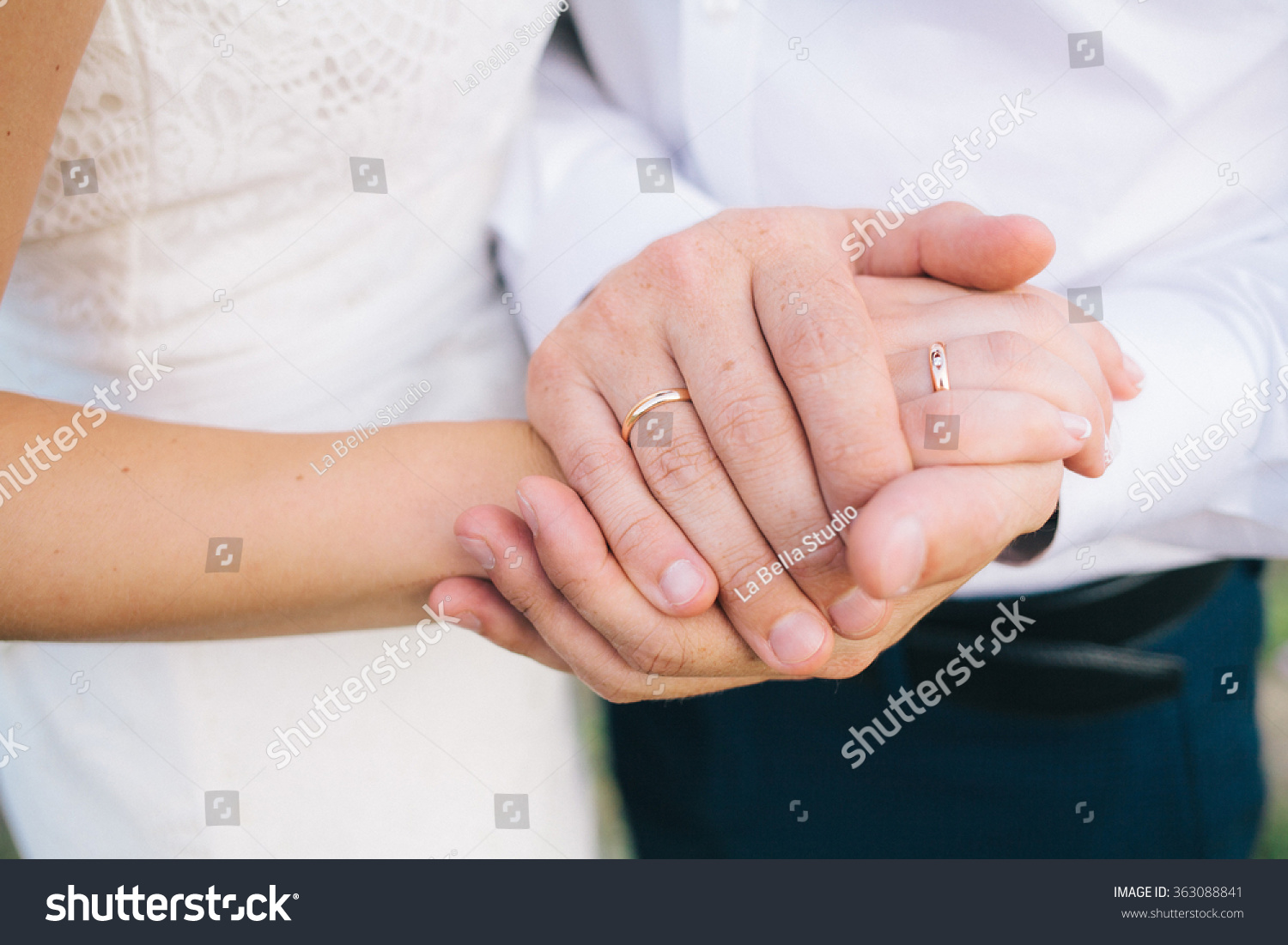 Lovers Holding Hands Gold Wedding Rings Stock Photo (Edit Now ...