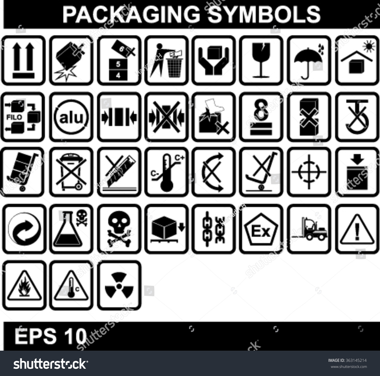 Set packaging symbols stock vector 363145214 shutterstock set of packaging symbols biocorpaavc Choice Image