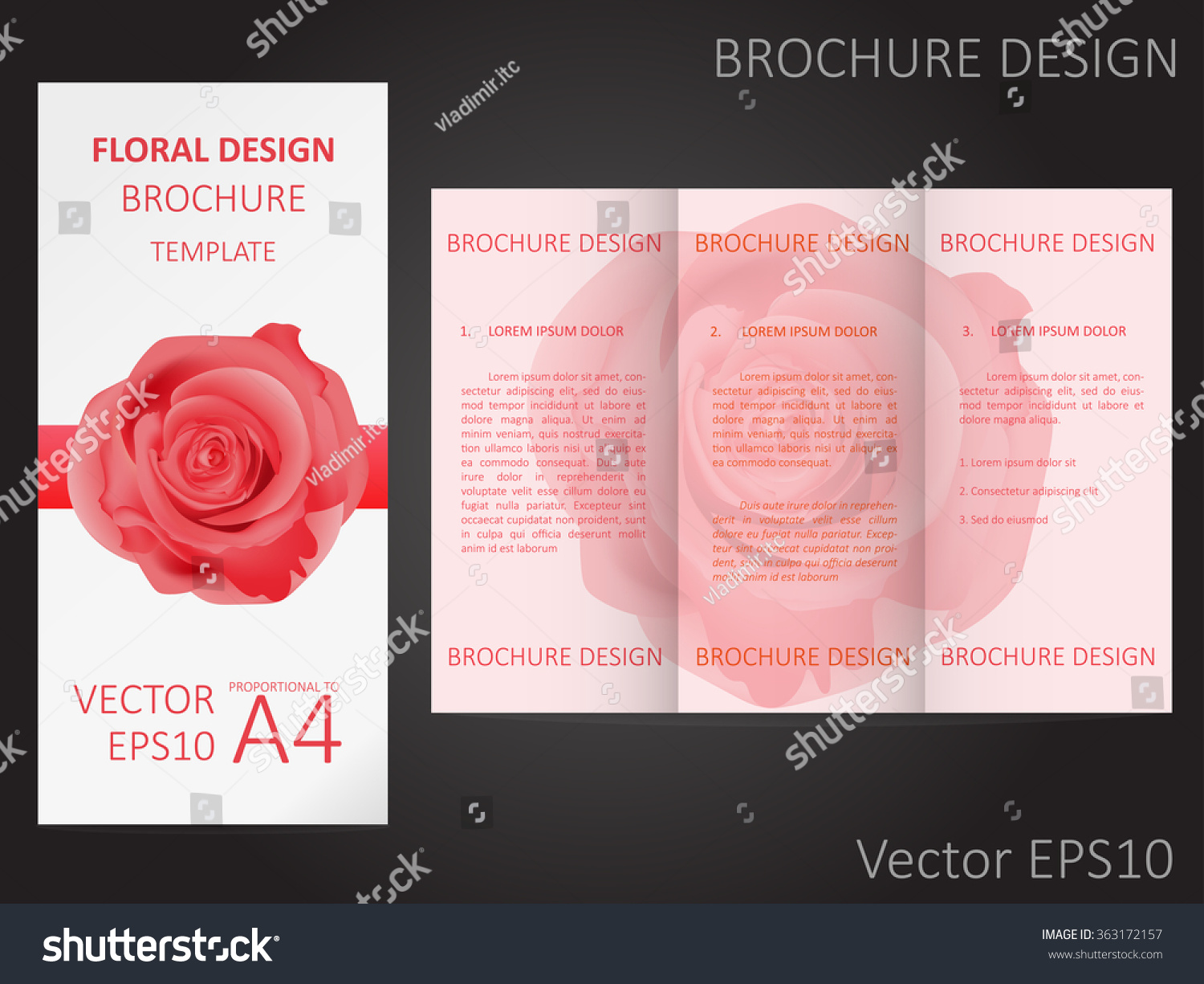 Valentines Day Wedding Brochure Template Rose Stock Vector Royalty Free 363172157