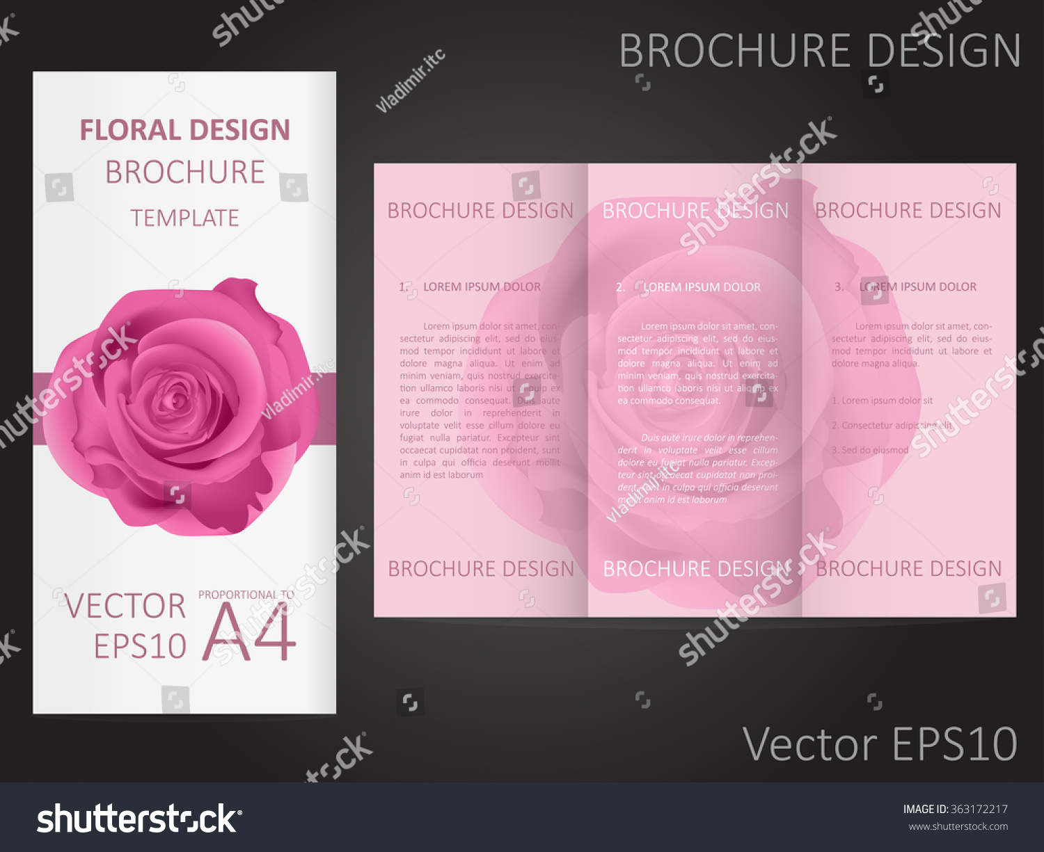 Valentines Day Wedding Brochure Template Rose Stock Vector Royalty