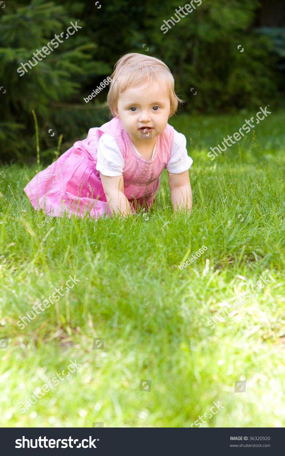 sweet baby girl garden stock photo (royalty free) 36320920