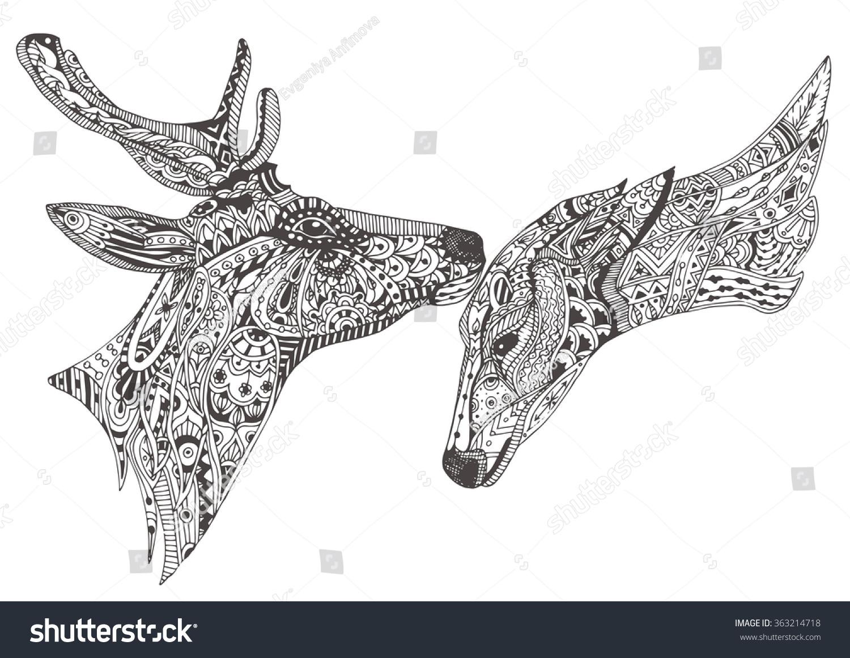 Deer Familycouple Handdrawn Deers Ethnic Pattern Stock