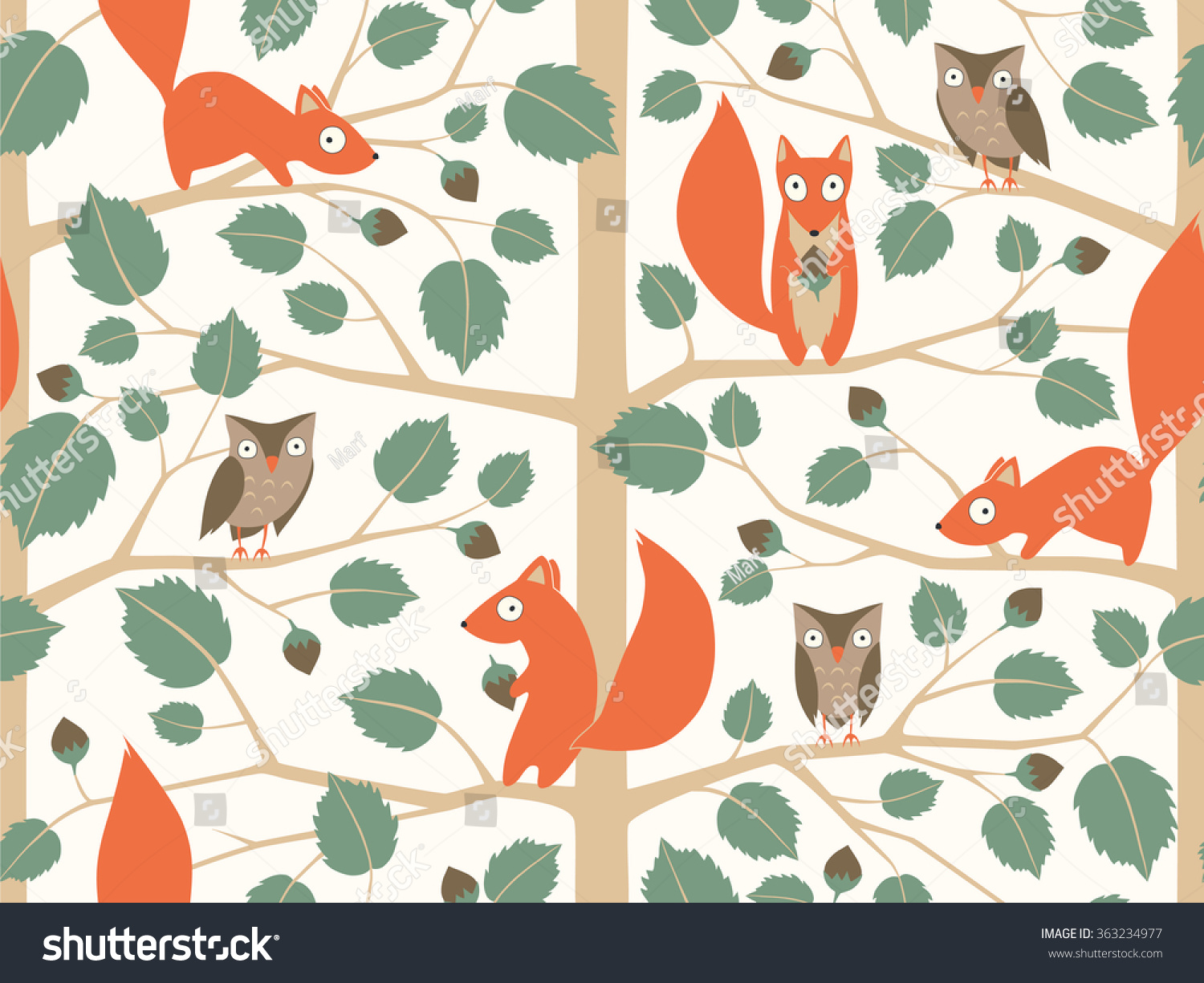 Cute woodland seamless pattern with squirrels and owls in childish cartoon style. Vector illustration can be used for wallpaper, pattern fills, ...